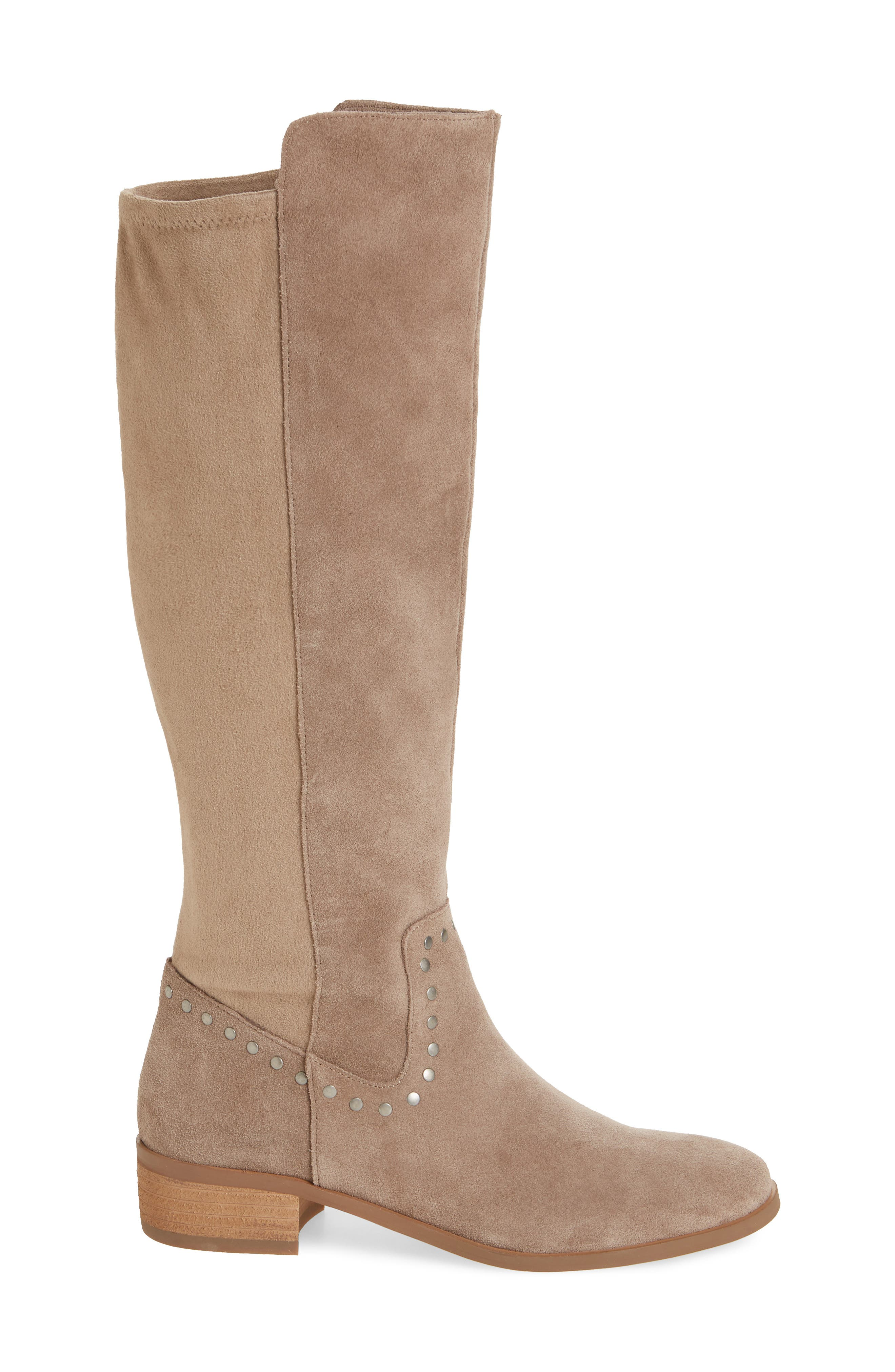 Calvenia Knee High Boot,                             Alternate thumbnail 3, color,                             FALL TAUPE SUEDE