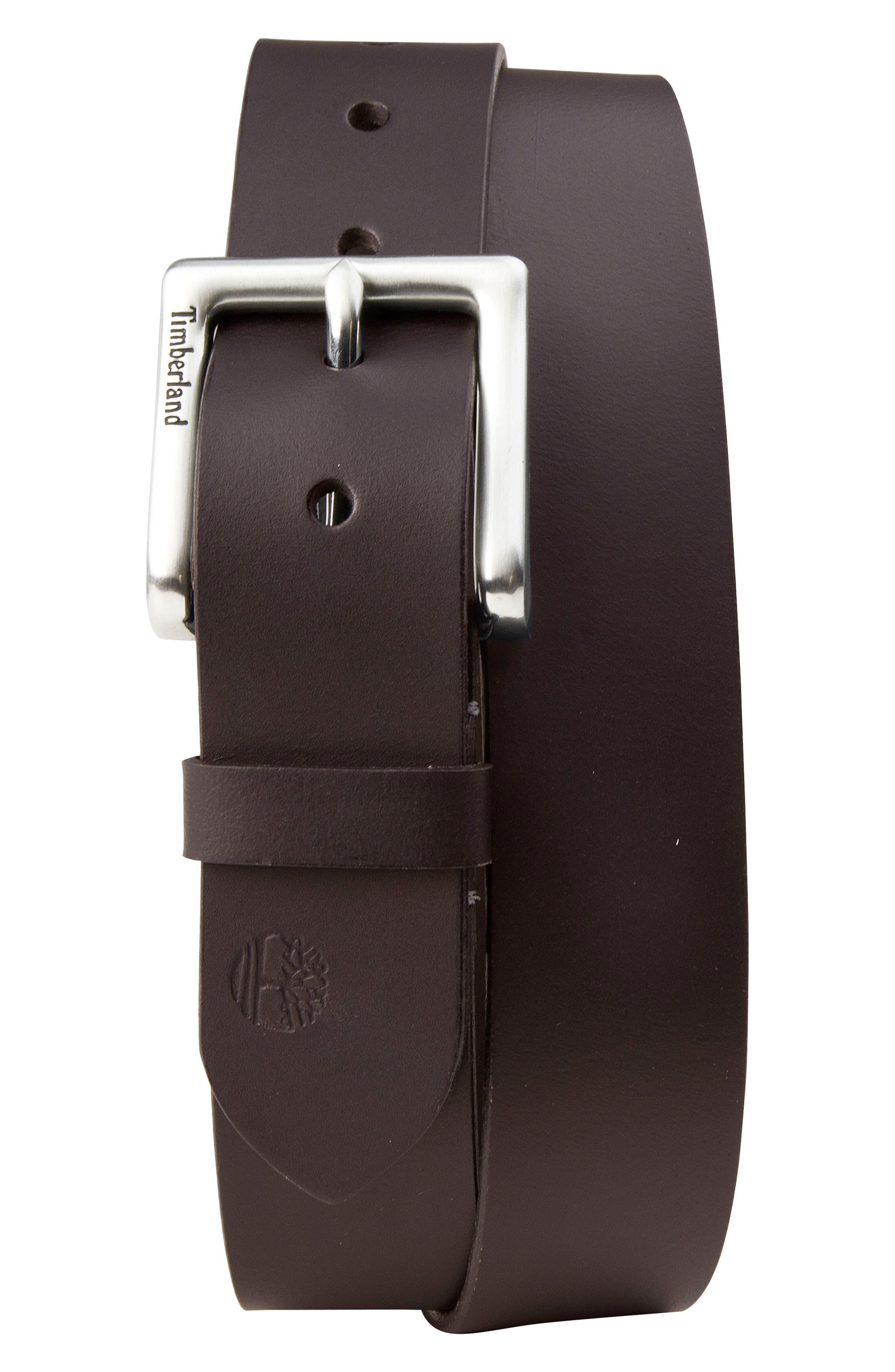 Leather Belt,                             Main thumbnail 1, color,                             DARK BROWN
