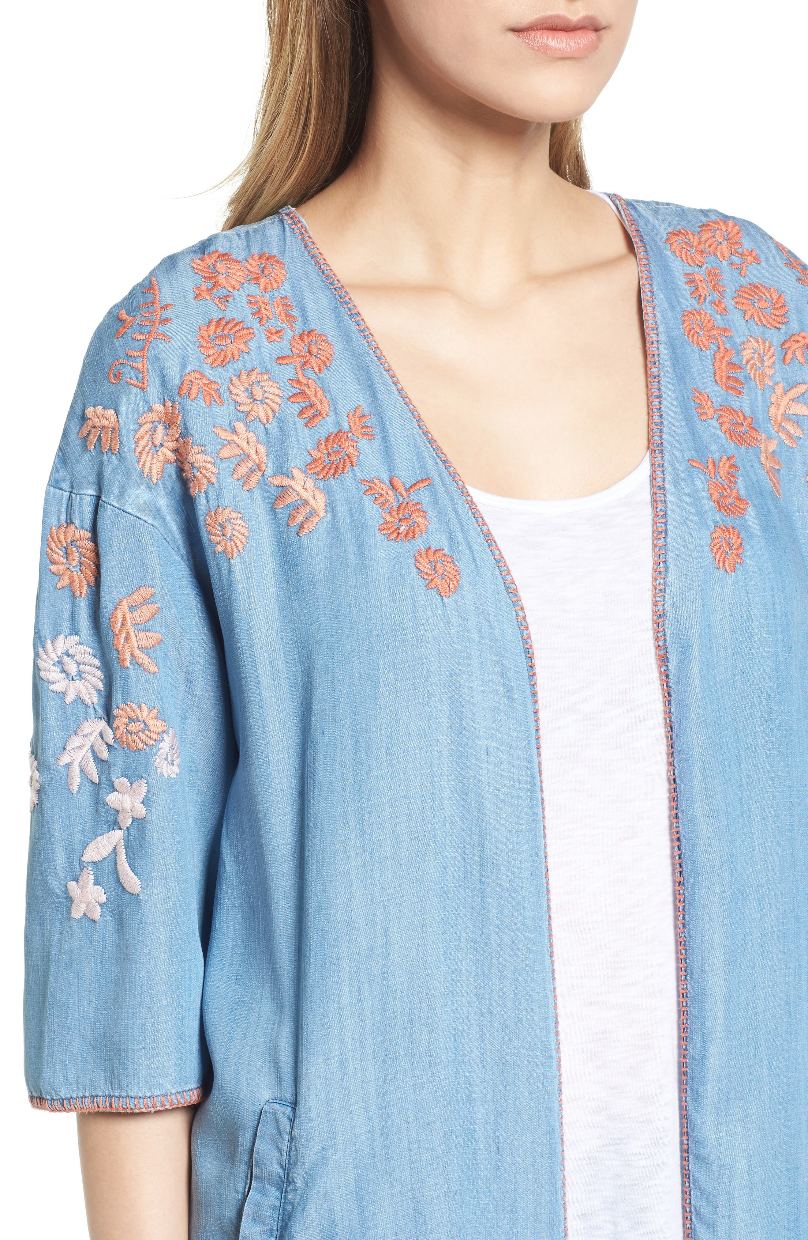 Embroidered Chambray Kimono,                             Alternate thumbnail 4, color,                             BLUE EMBROIDER