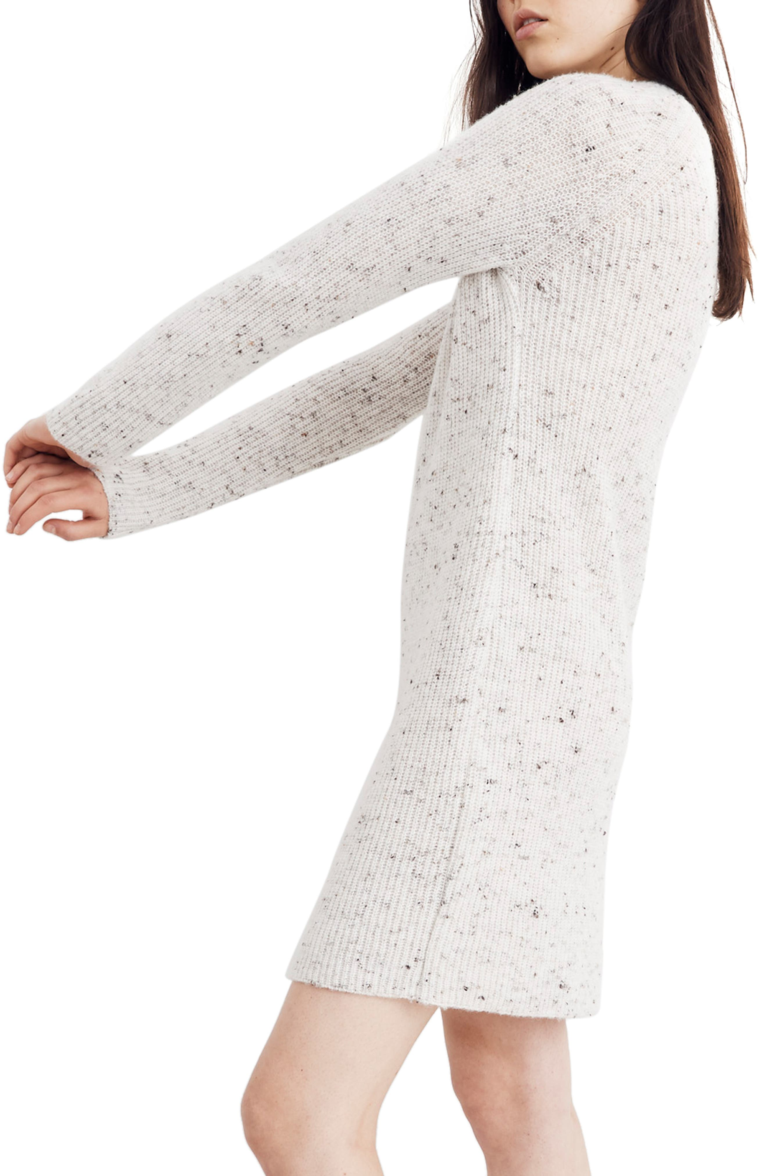 Northfield Donegal Mock Neck Sweater Dress,                             Alternate thumbnail 4, color,                             DONEGAL STORM