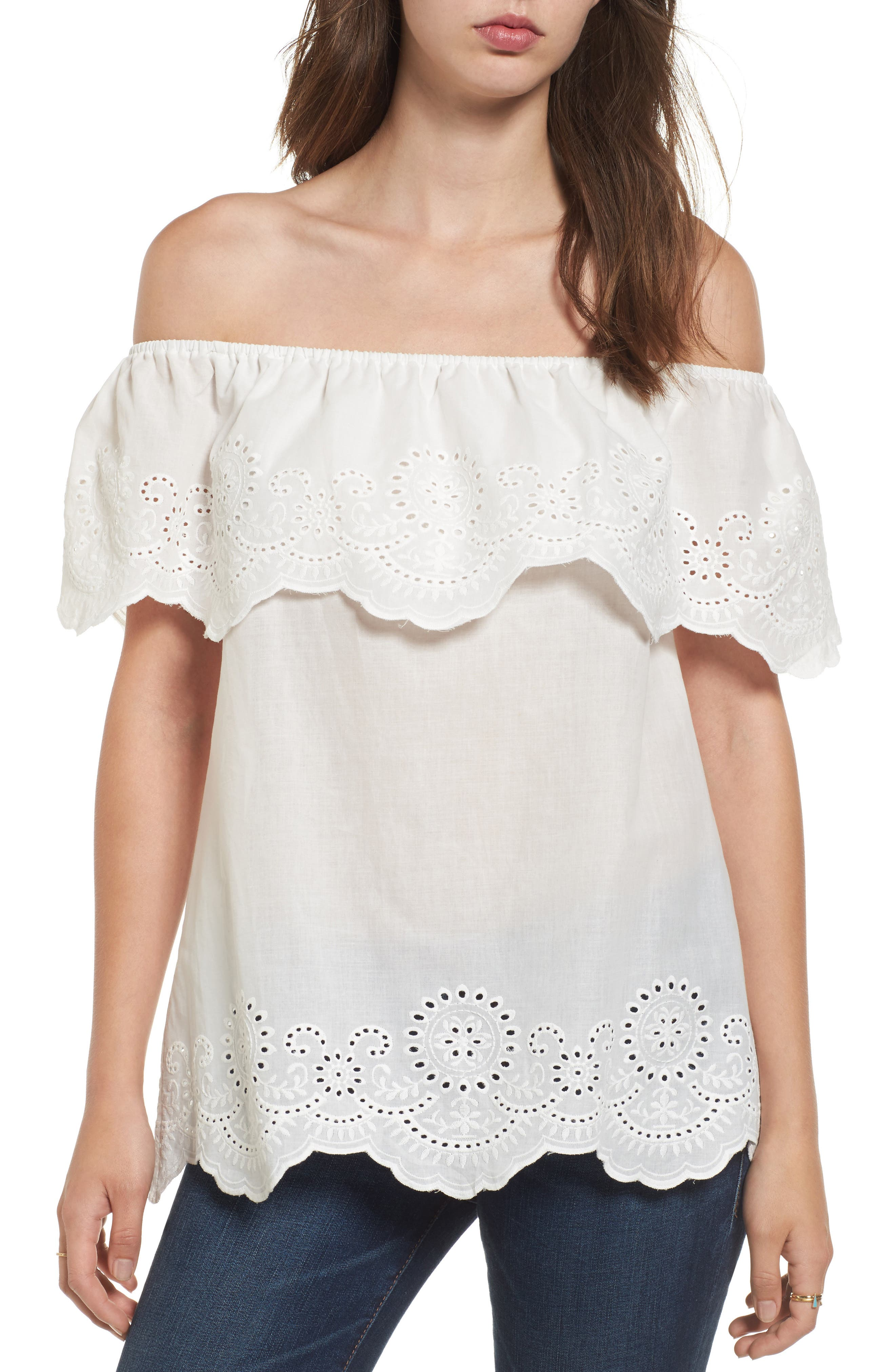 Eyelet Ruffle Off the Shoulder Top,                         Main,                         color, 100