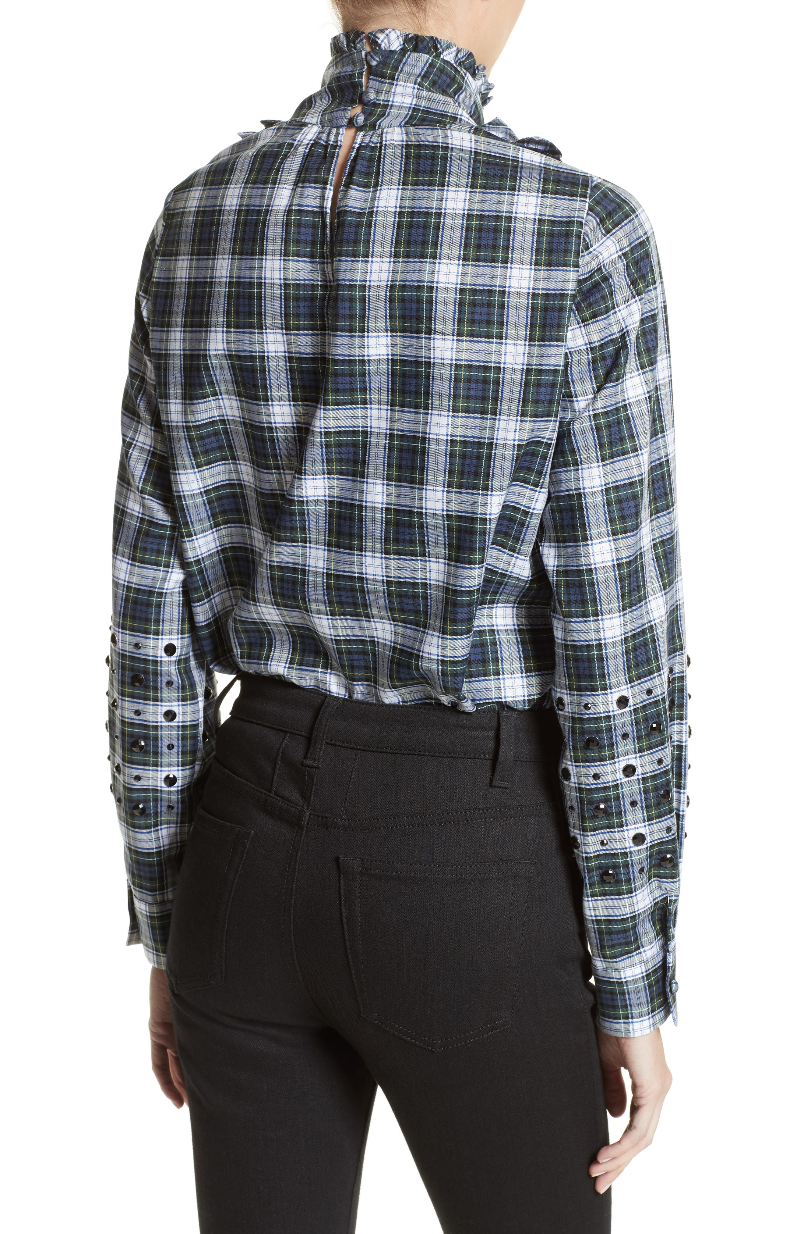 Crystal Embellished Plaid Shirt,                             Alternate thumbnail 2, color,