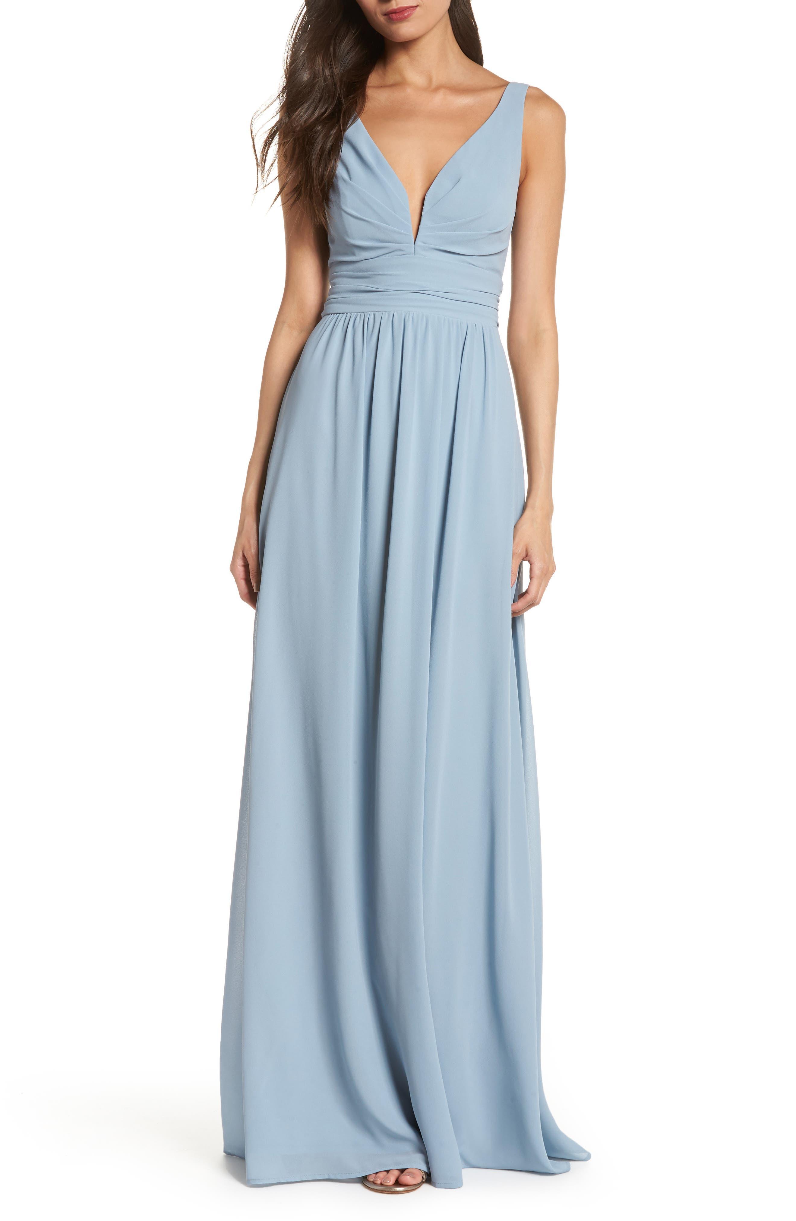 V-Neck Chiffon Gown,                         Main,                         color, LIGHT BLUE