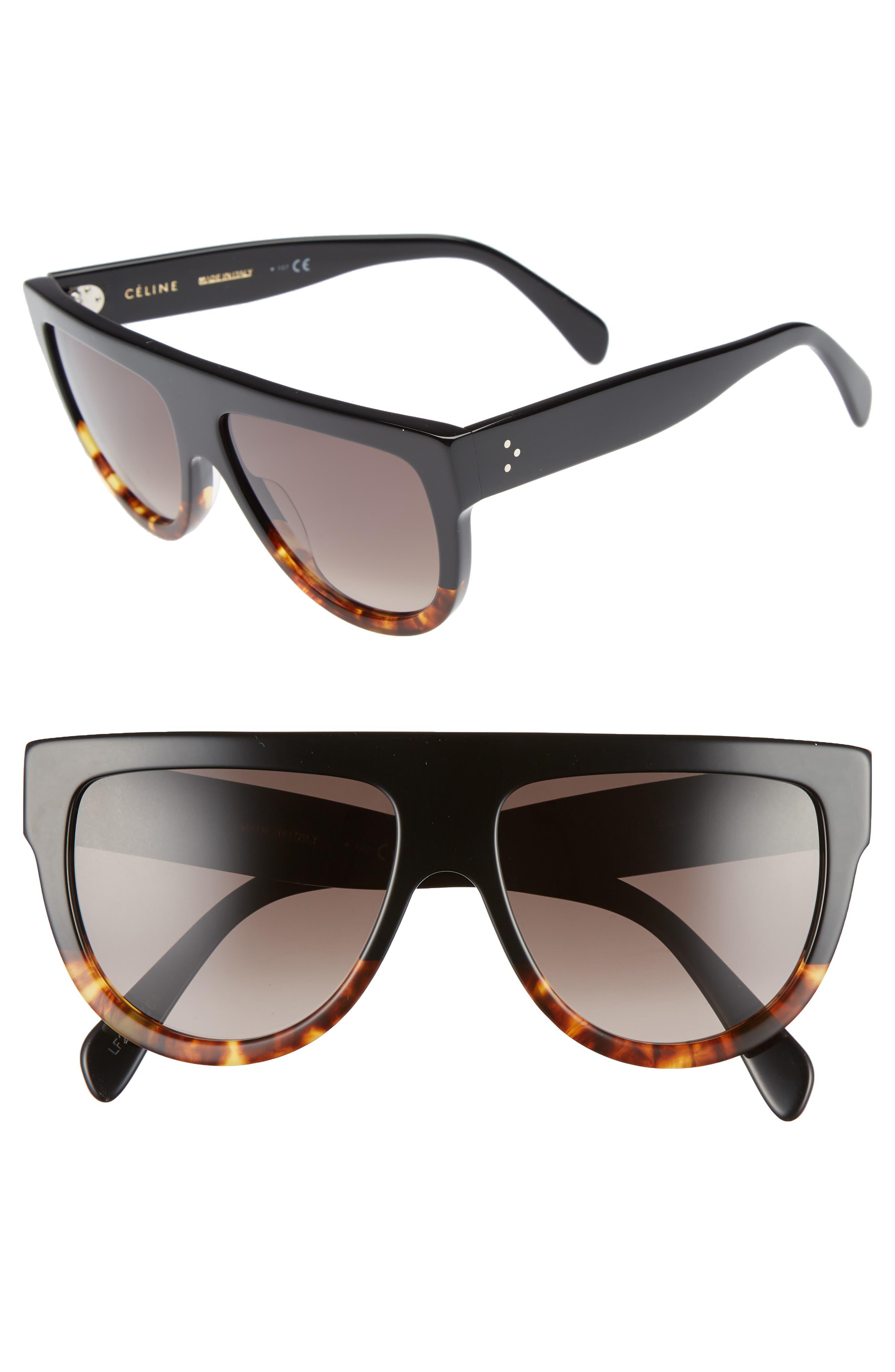 Flat Top Sunglasses,                             Main thumbnail 1, color,                             BLACK/ HAVANA/ SMOKE