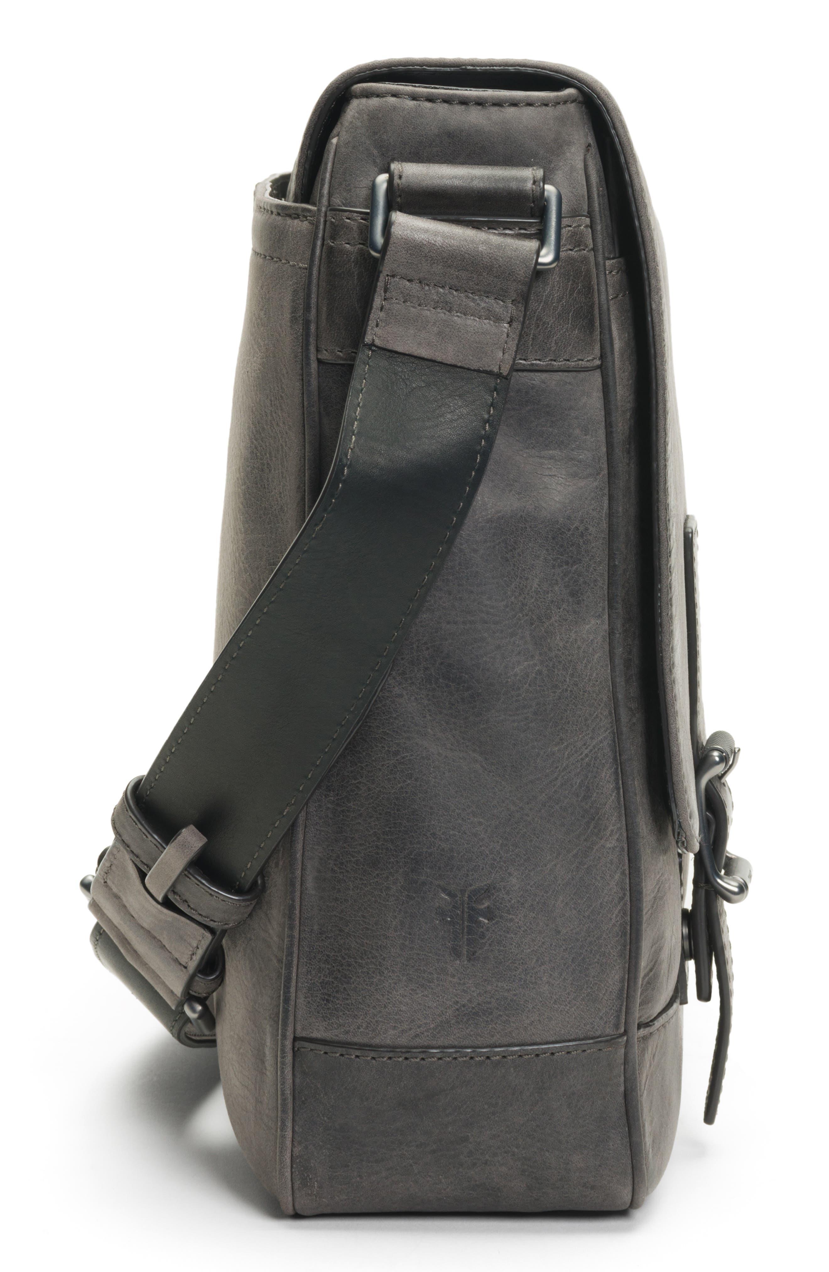 Oliver Leather Messenger Bag,                             Alternate thumbnail 5, color,                             SLATE