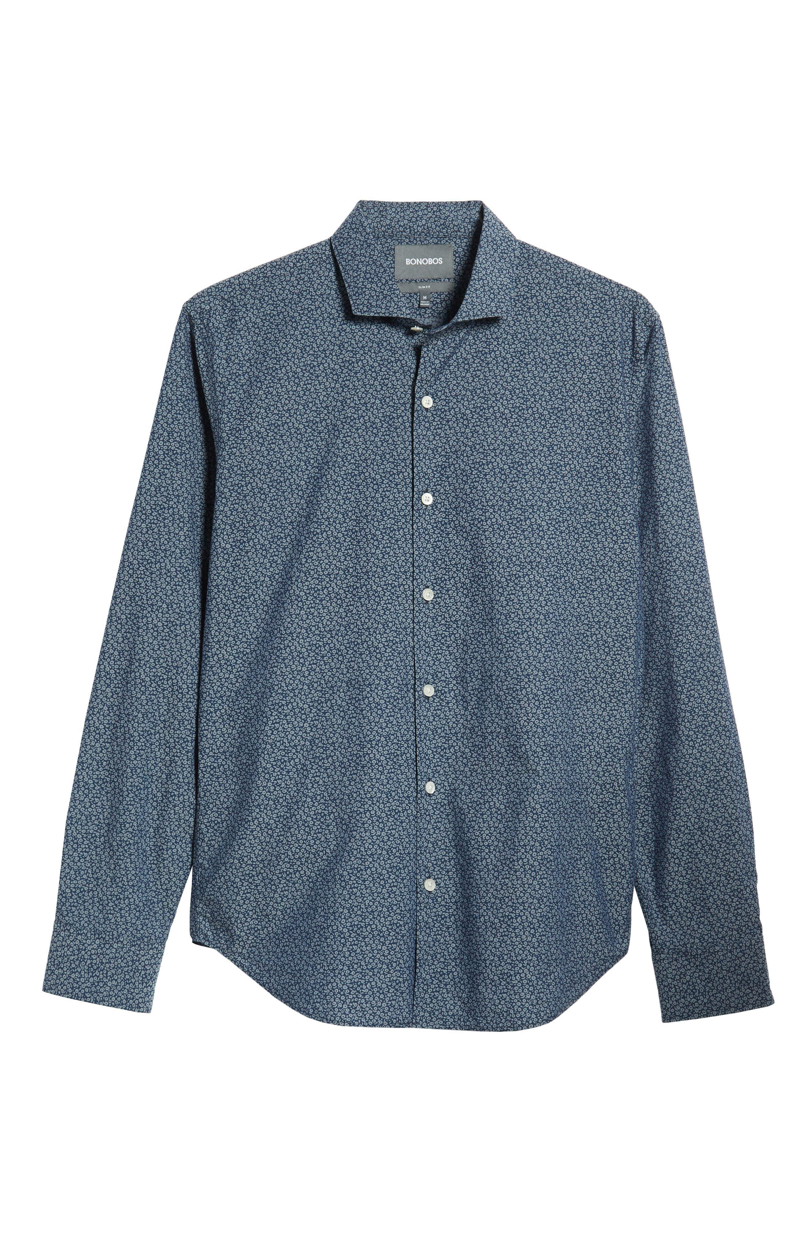Unbutton Down Slim Fit Sport Shirt,                             Alternate thumbnail 5, color,                             CIELO FLORAL - INDIO