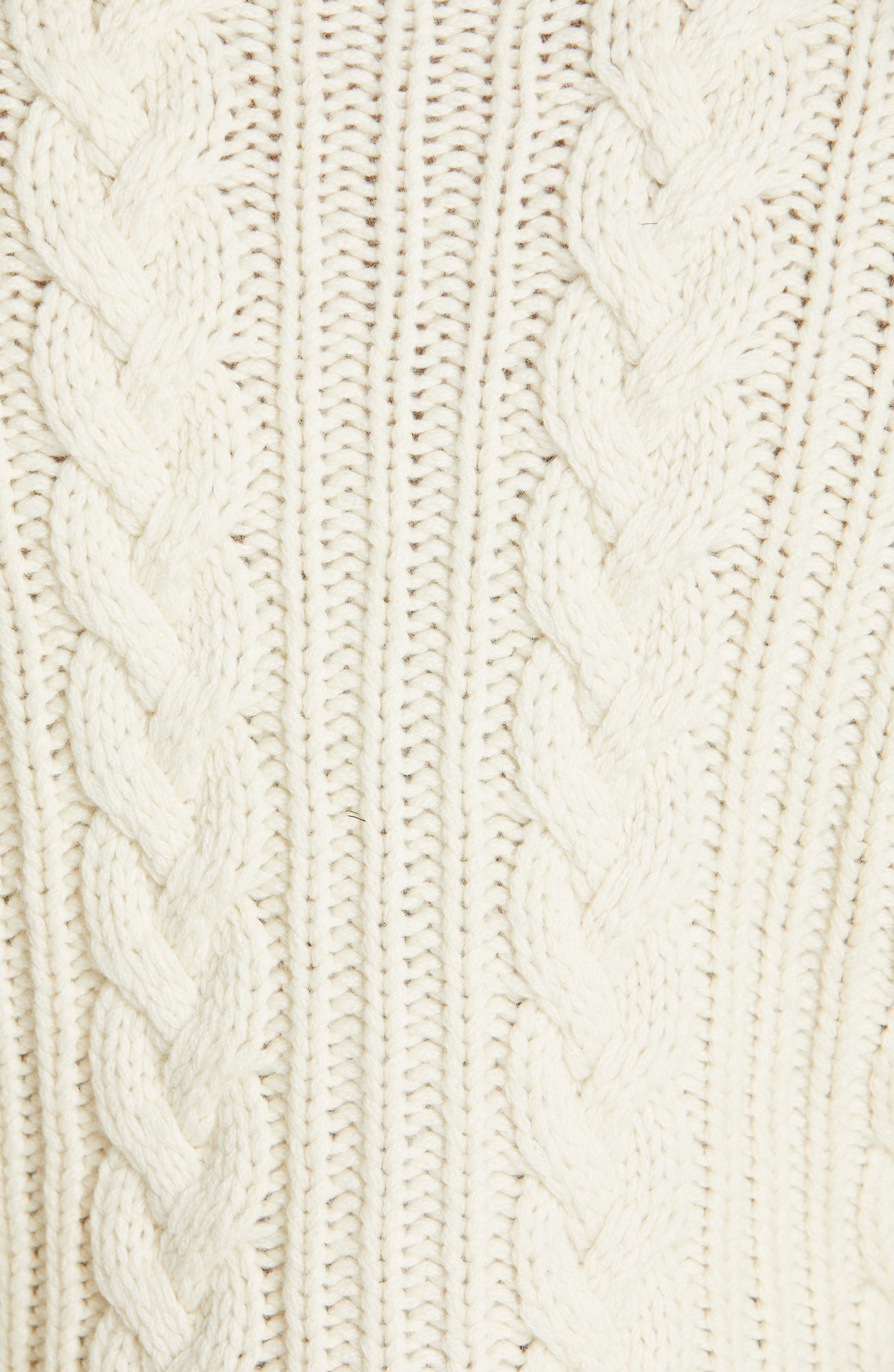 Chain Detail Cashmere Peplum Cardigan,                             Alternate thumbnail 5, color,                             IVORY