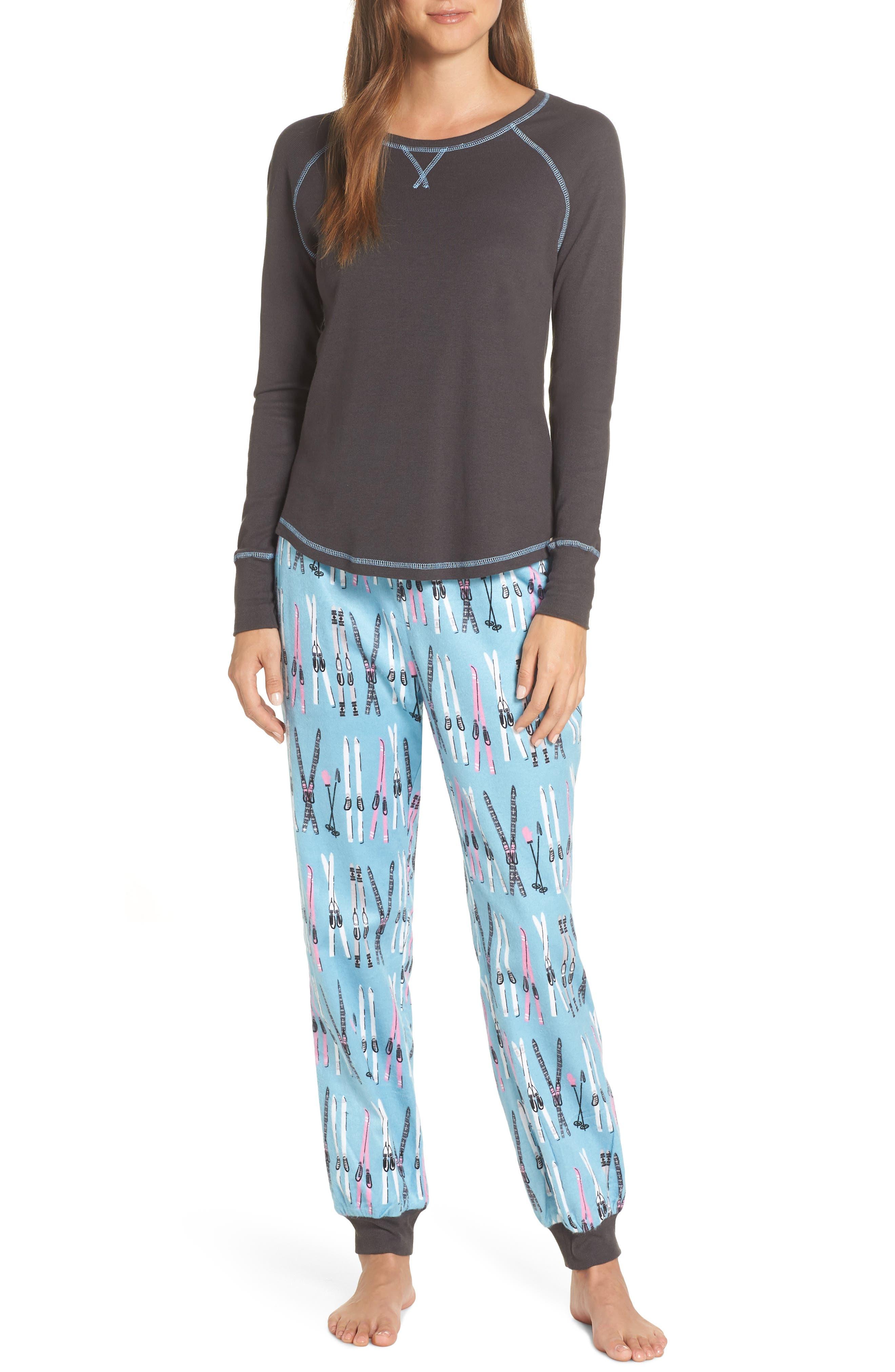Munki Munki Knit & Flannel Pajamas, Blue/green
