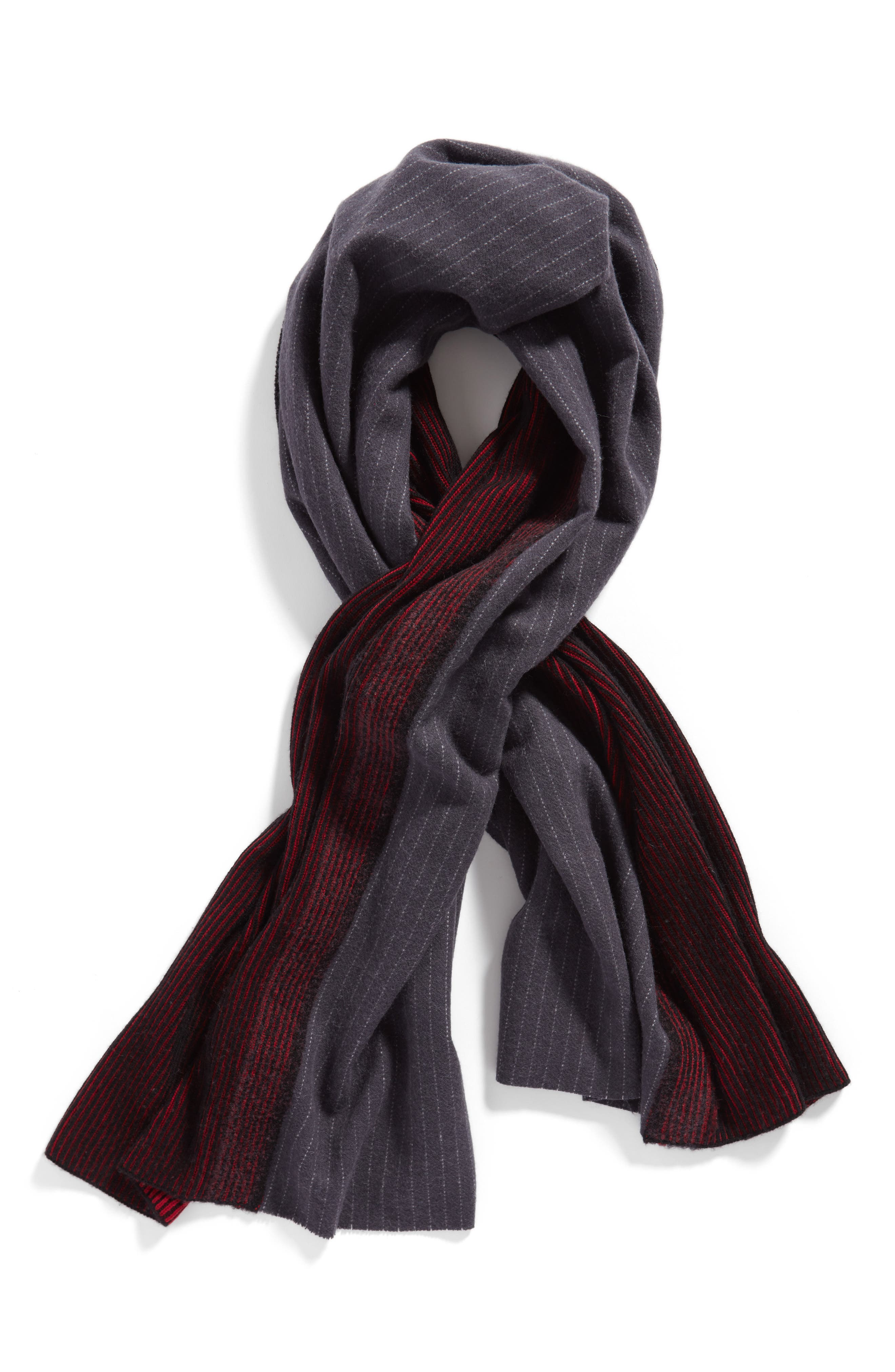 Pinstripe Wool & Cashmere Scarf,                             Alternate thumbnail 2, color,                             400