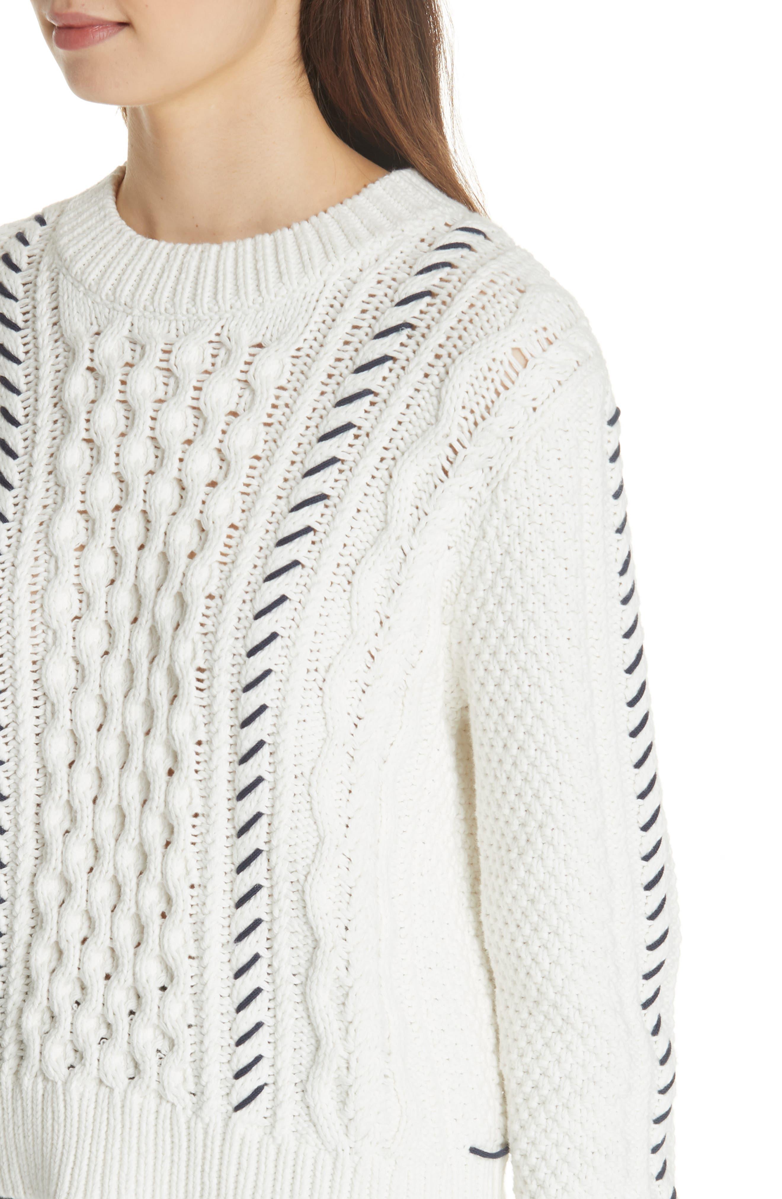 Cotton Fisherman Sweater,                             Alternate thumbnail 4, color,                             WHITE NAVY