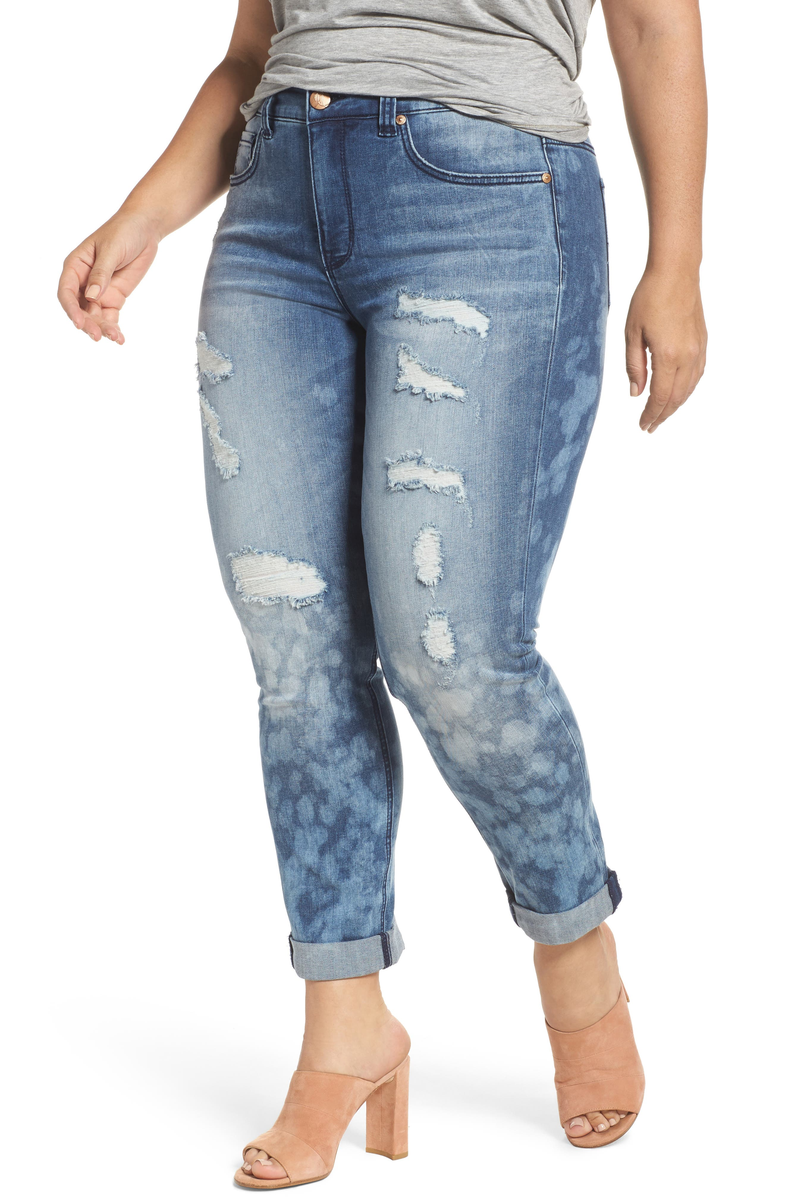 Destructed Roll Cuff Skinny Jeans,                             Main thumbnail 1, color,                             409