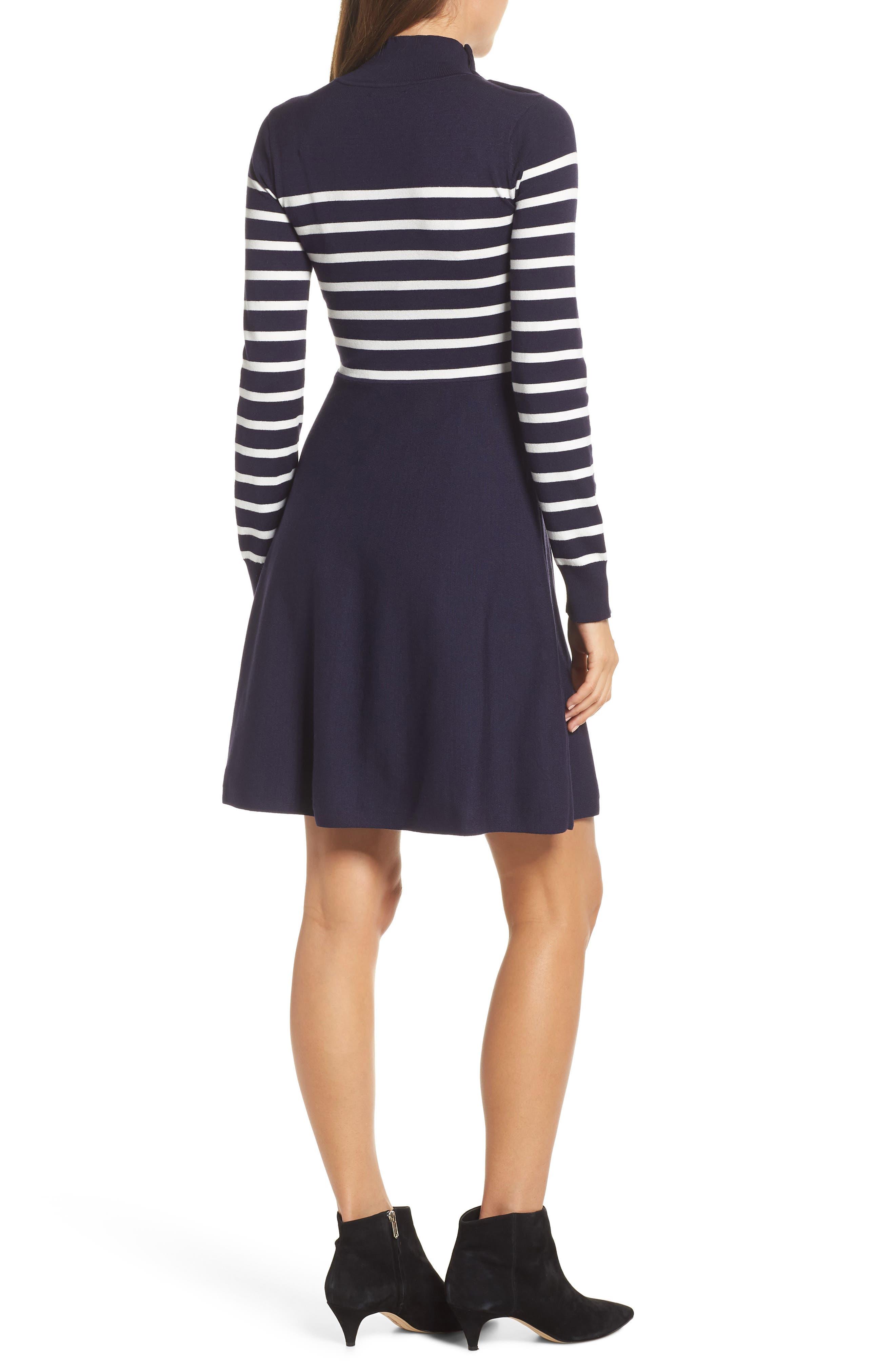 Stripe Mock Neck Fit & Flare Dress,                             Alternate thumbnail 2, color,                             NAVY