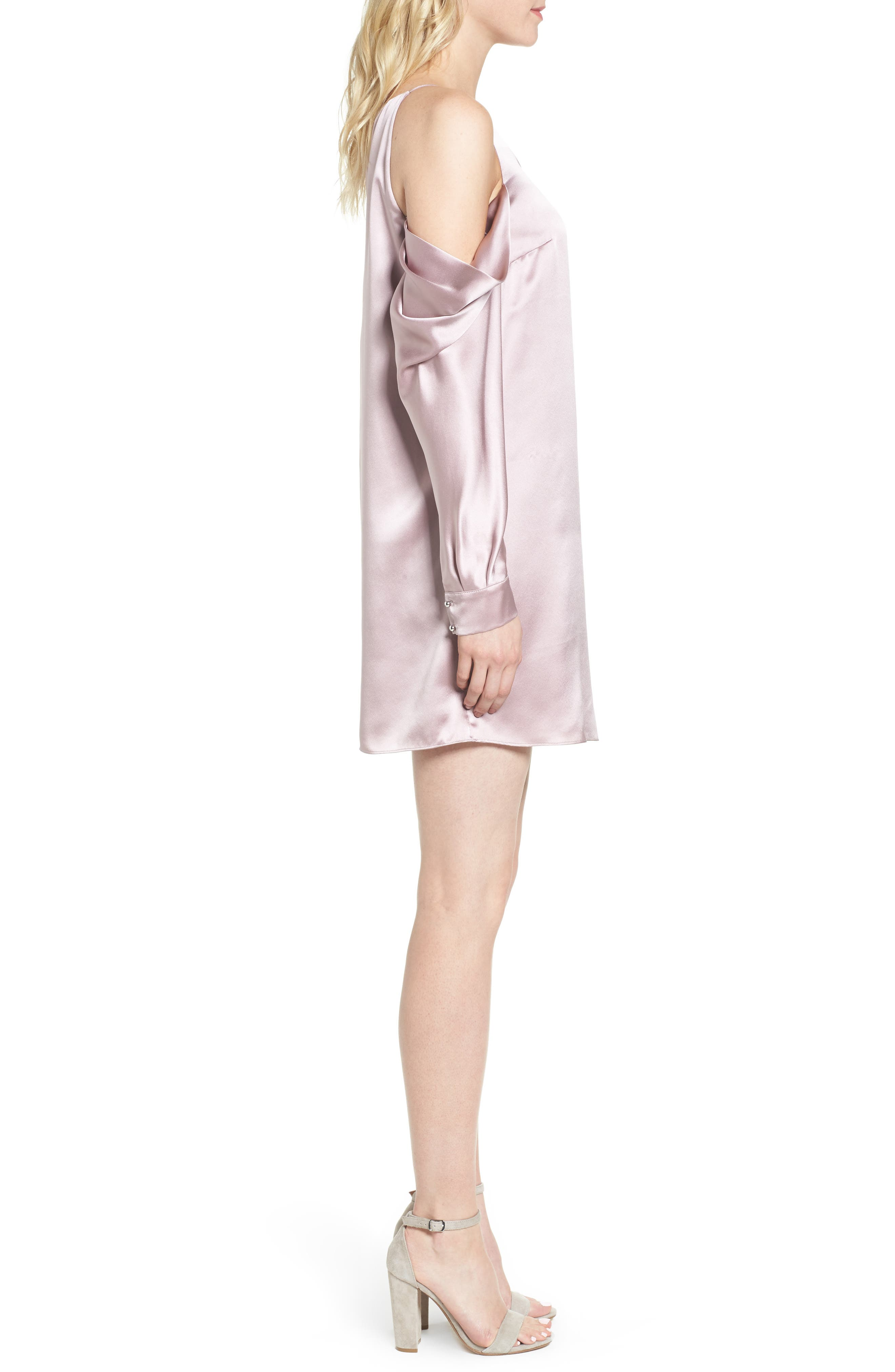 Camille Asymmetrical Silk Minidress,                             Alternate thumbnail 3, color,