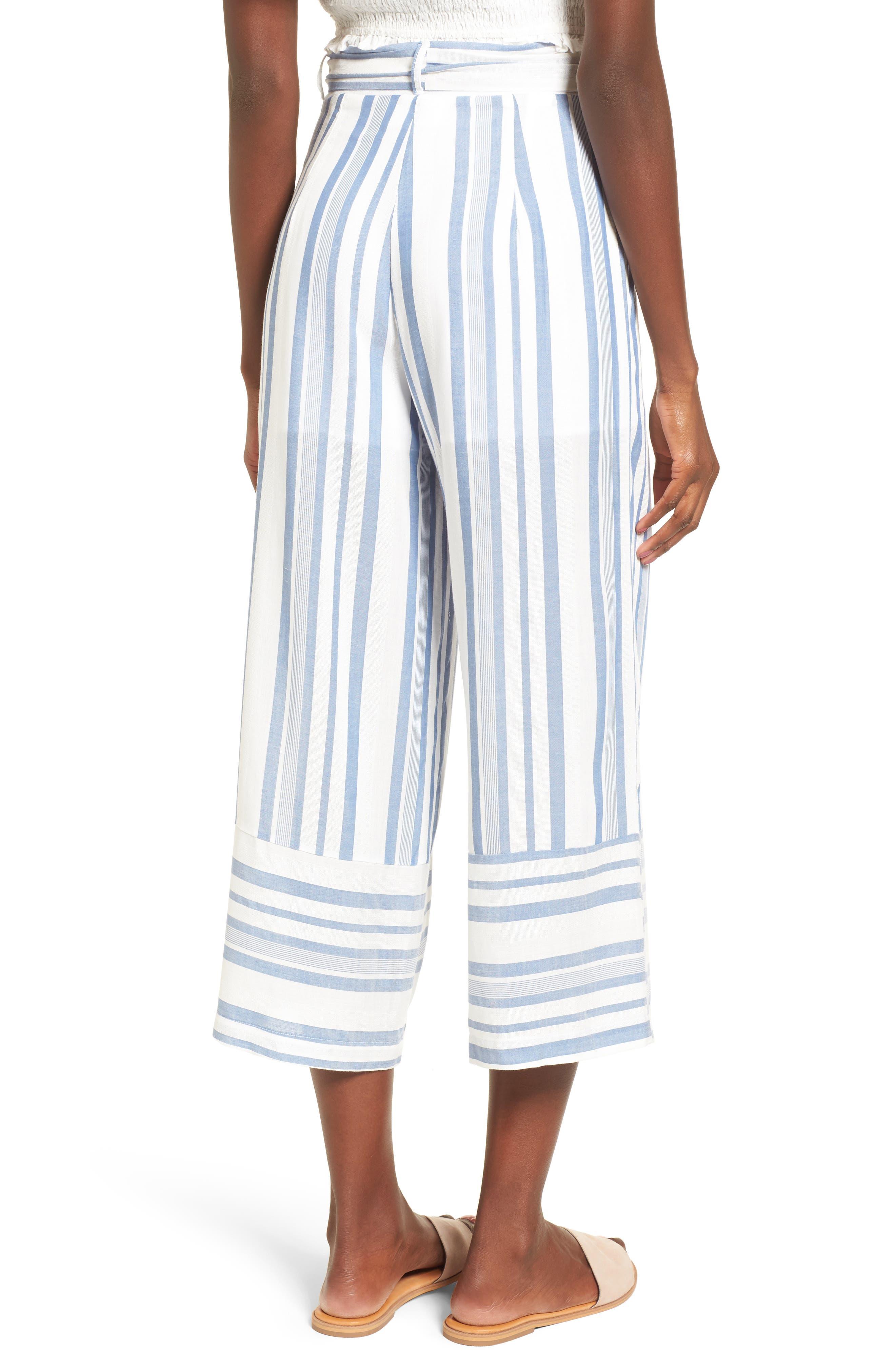 Marina Wide Leg Pants,                             Alternate thumbnail 2, color,                             WHITE/ BLUE