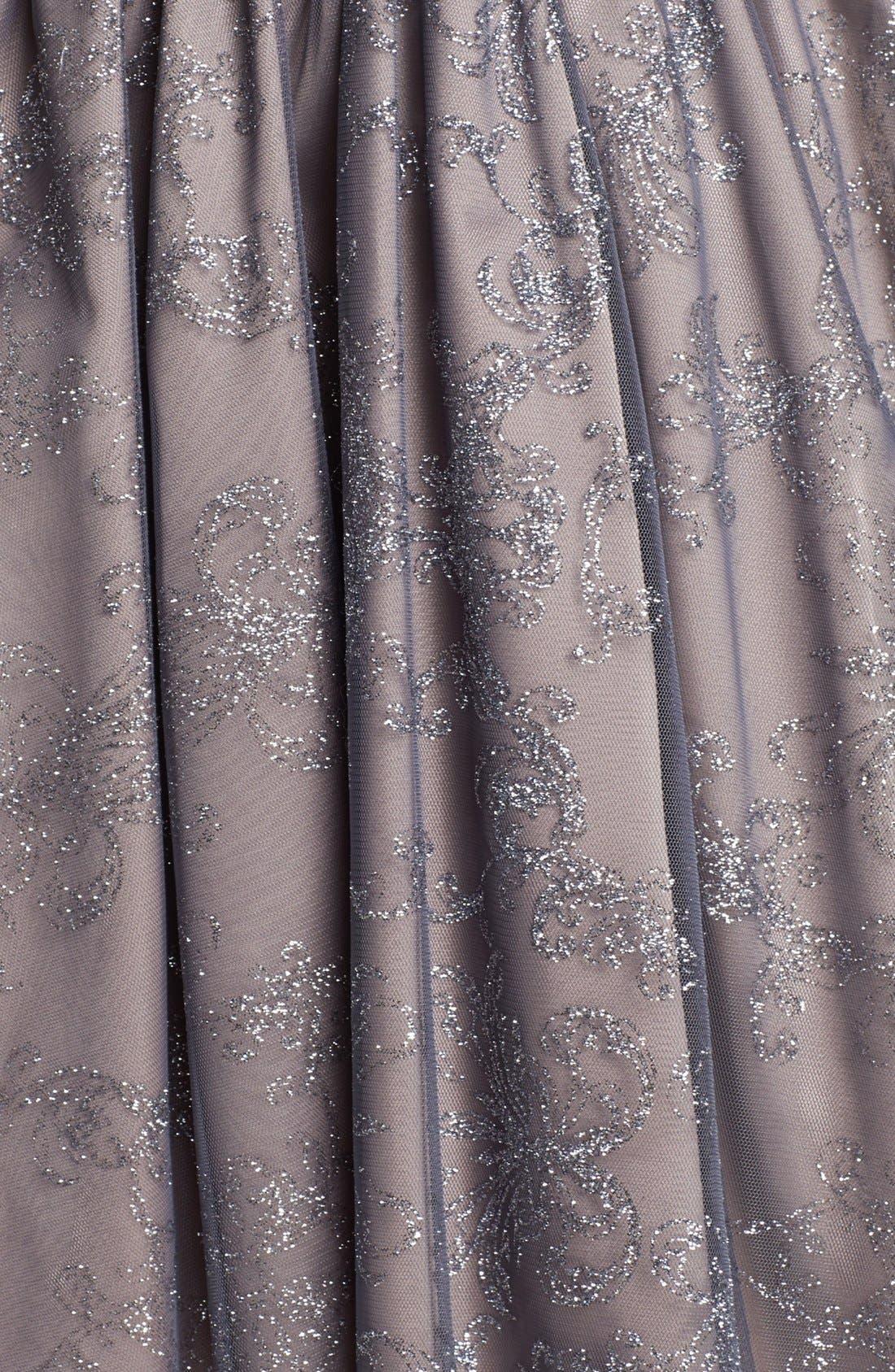 Metallic Mesh Fit & Flare Dress,                             Alternate thumbnail 4, color,                             065