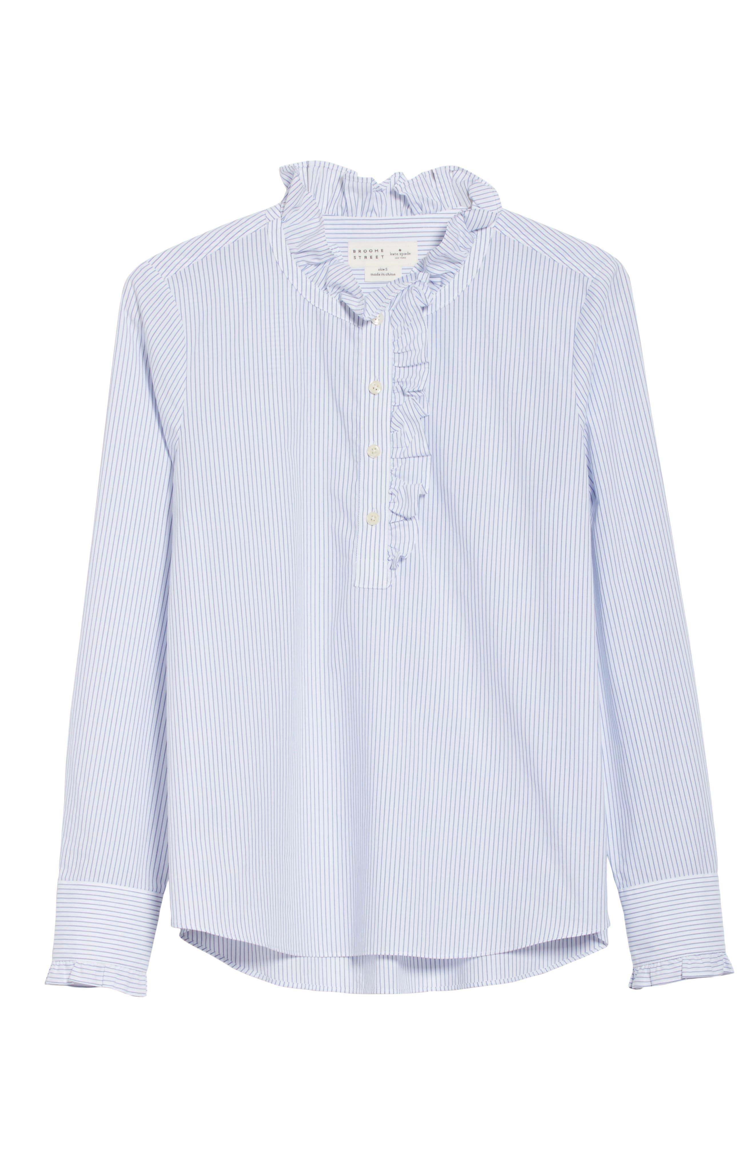 stripe ruffle neck poplin shirt,                             Alternate thumbnail 6, color,