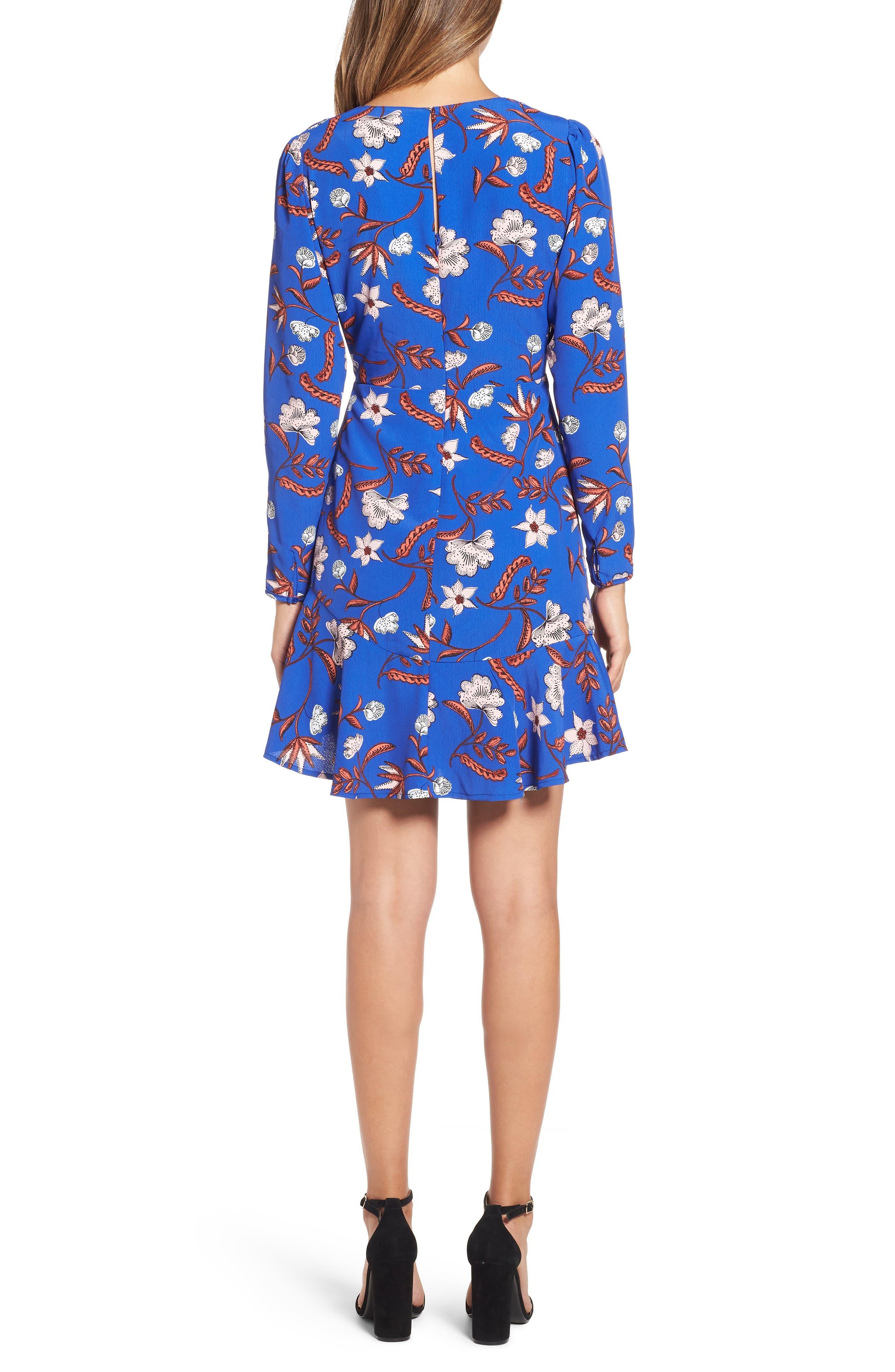 Asymmetrical Ruffle Hem Dress,                             Alternate thumbnail 2, color,                             BLUE FLORAL