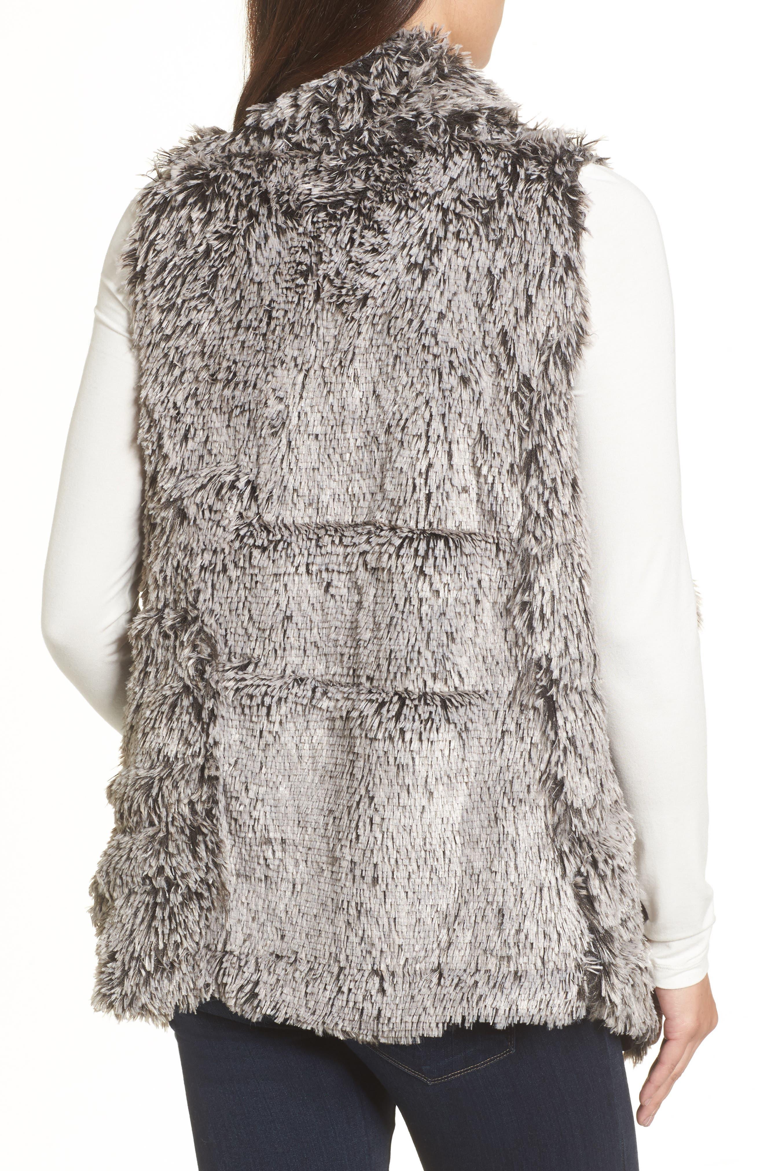 Faux Fur Drape Front Vest,                             Alternate thumbnail 2, color,                             020
