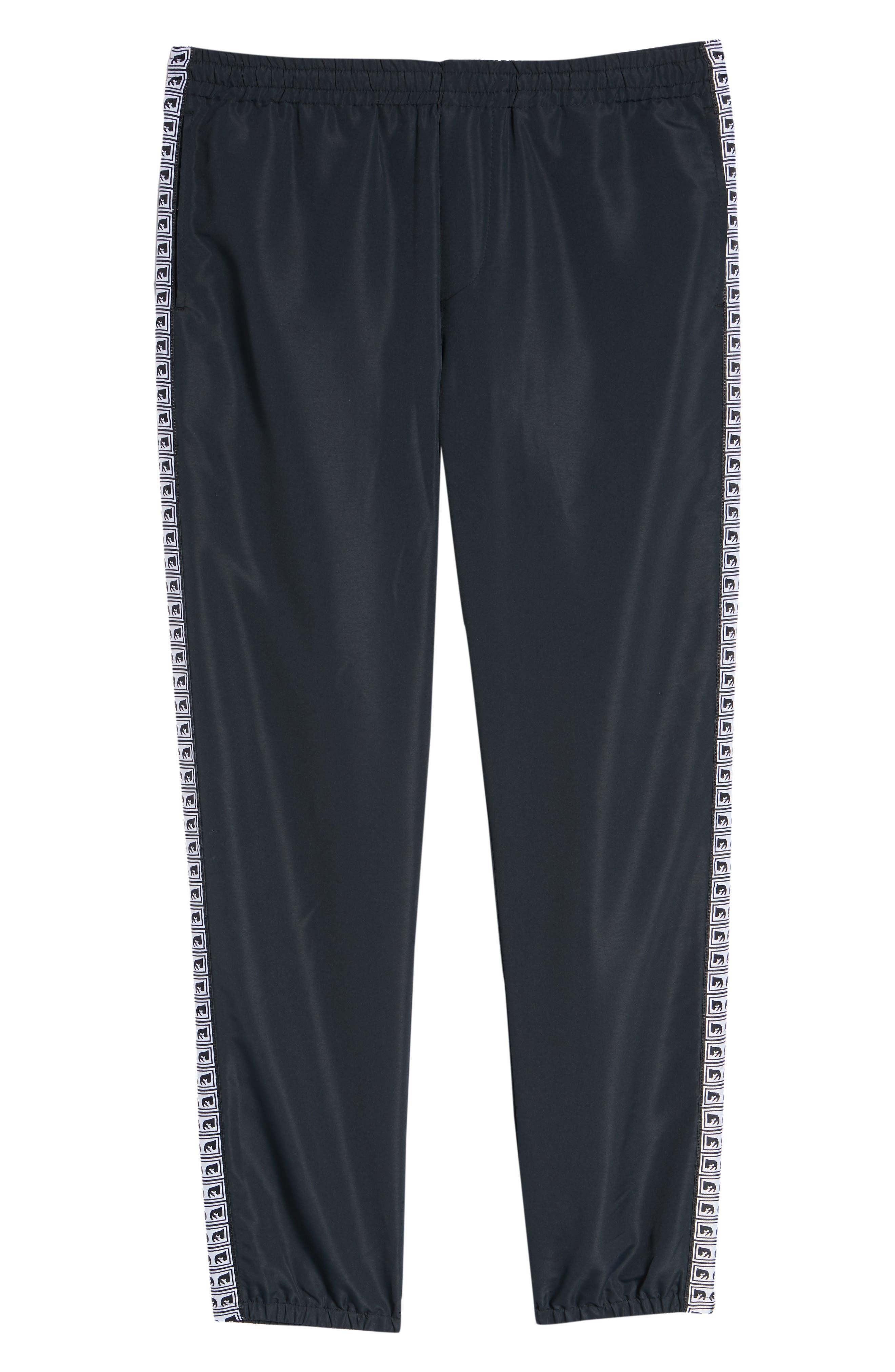 Regular Fit Eyes Taped Track Pants,                             Alternate thumbnail 6, color,                             BLACK