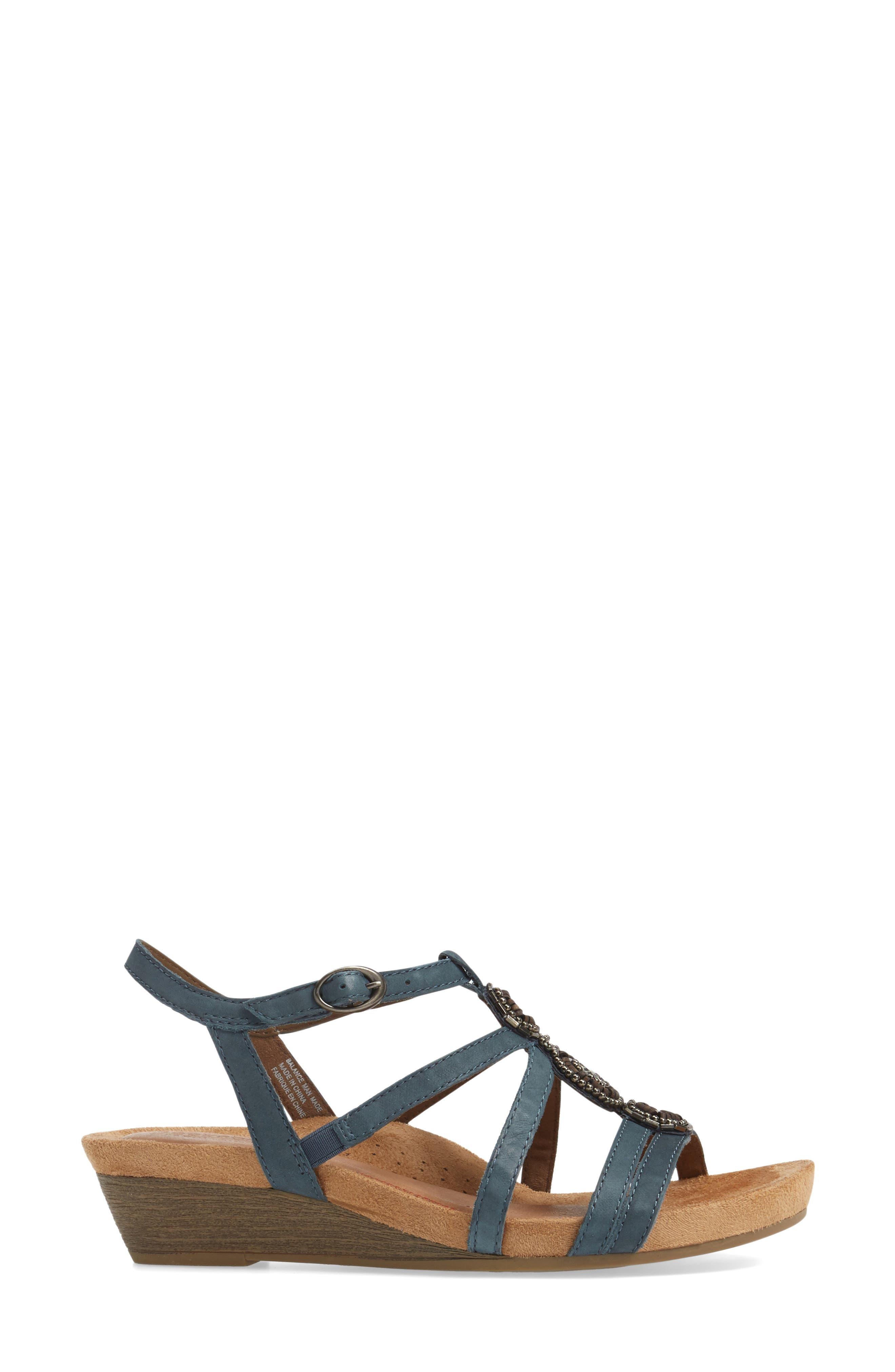 'Hannah' Leather Sandal,                             Alternate thumbnail 3, color,                             BLUE NUBUCK