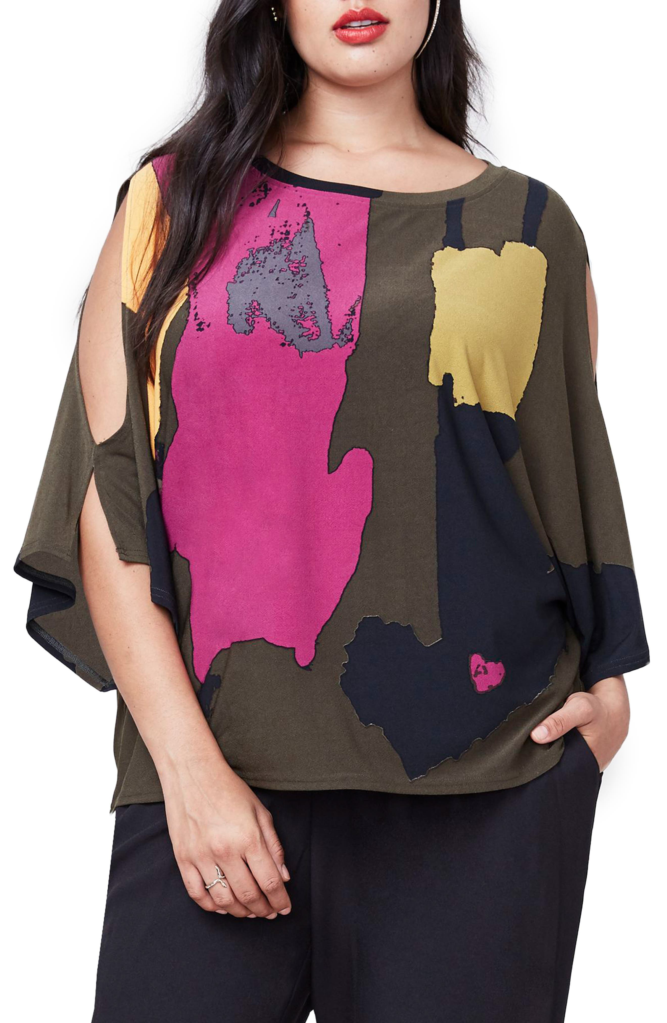 Rachel Roy Print Cold Shoulder Top,                             Main thumbnail 2, color,