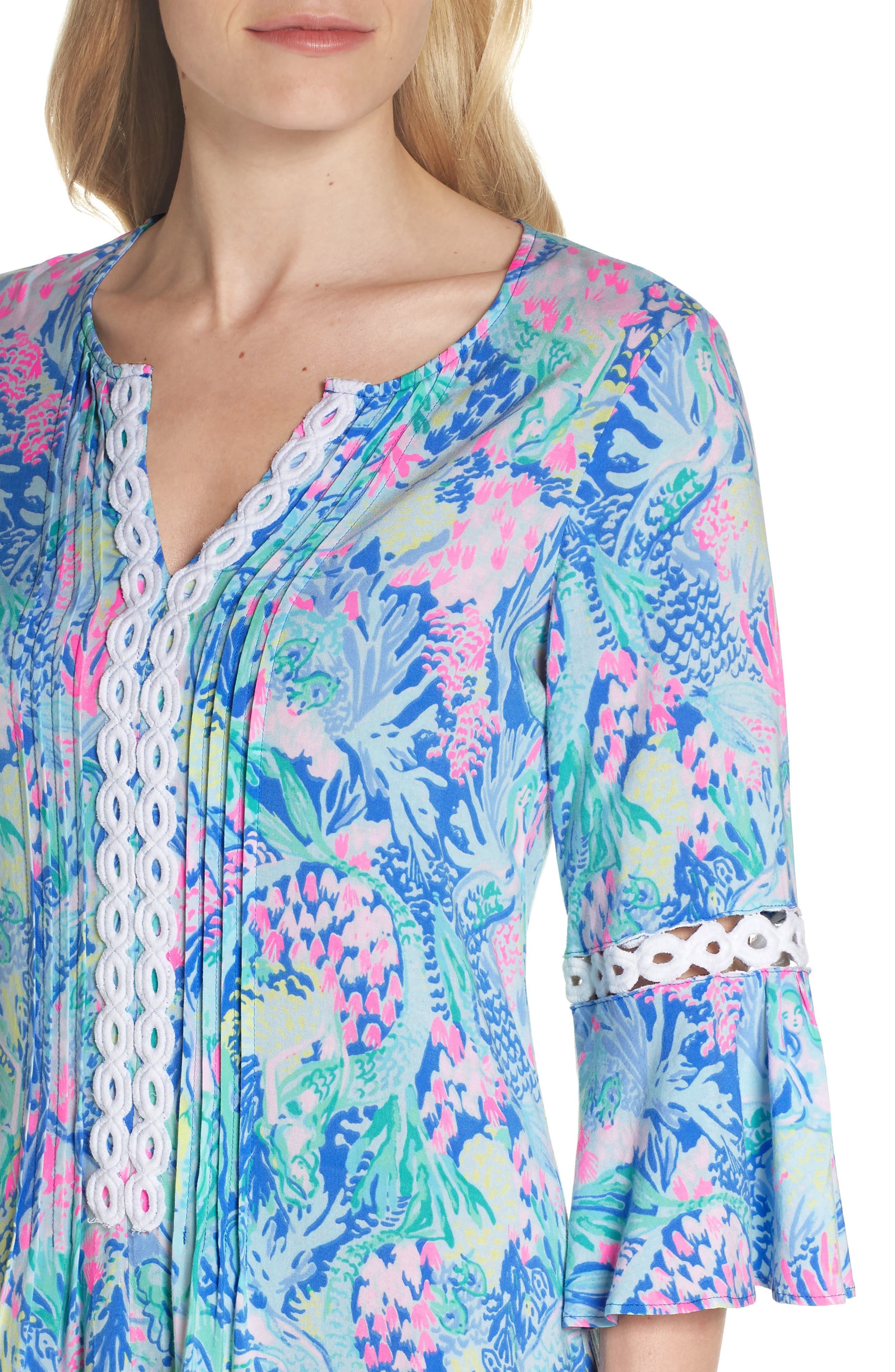 LILLY PULITZER<SUP>®</SUP>,                             Hollie Tunic Dress,                             Alternate thumbnail 4, color,                             MULTI MERMAIDS COVE