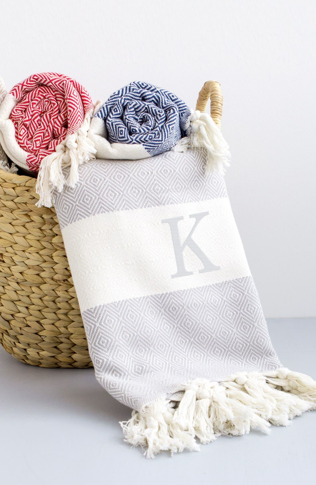 Monogram Turkish Cotton Throw,                             Alternate thumbnail 121, color,