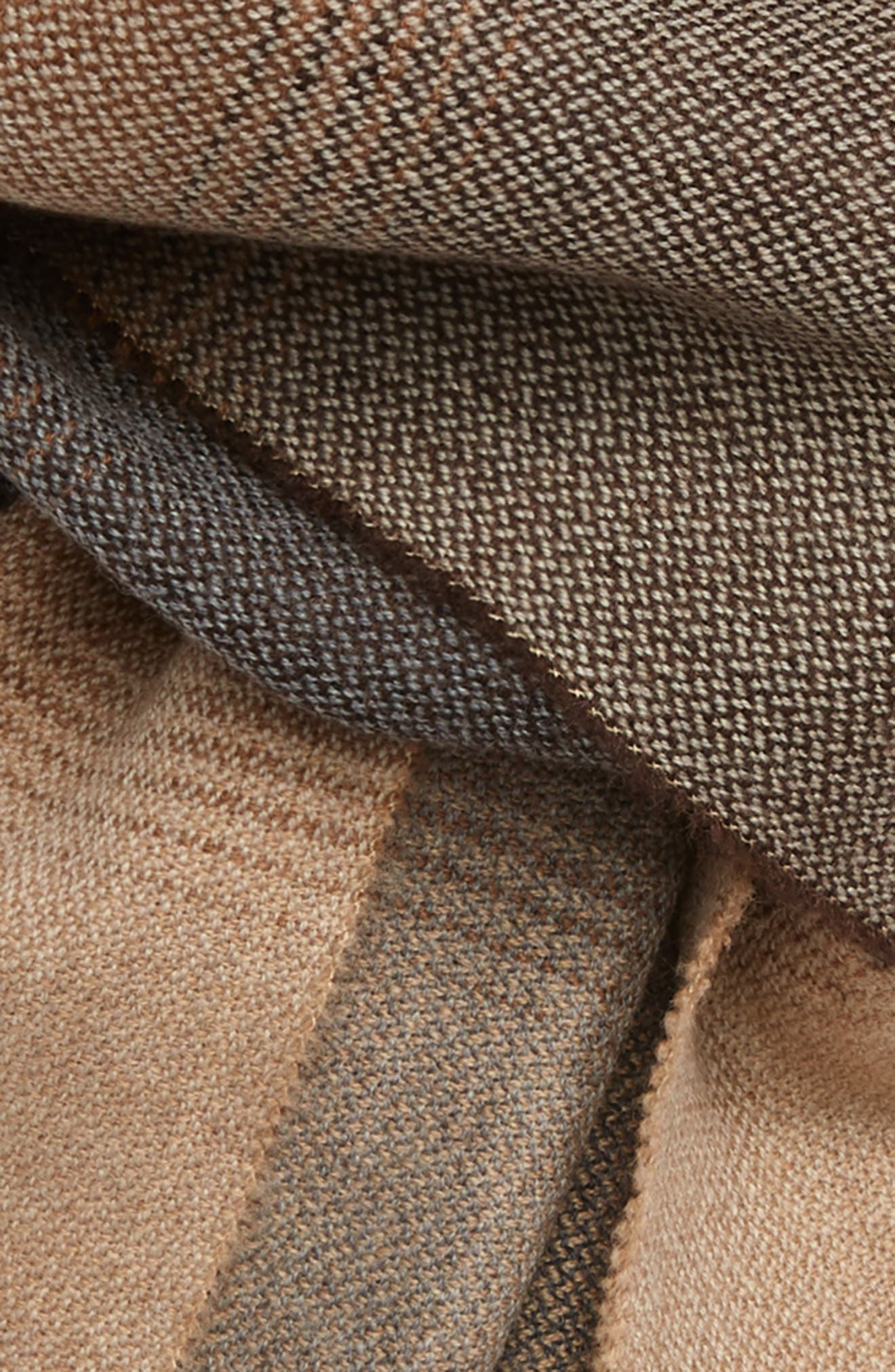 Ombré Colorblock Merino Wool Scarf,                             Alternate thumbnail 3, color,                             BROWN