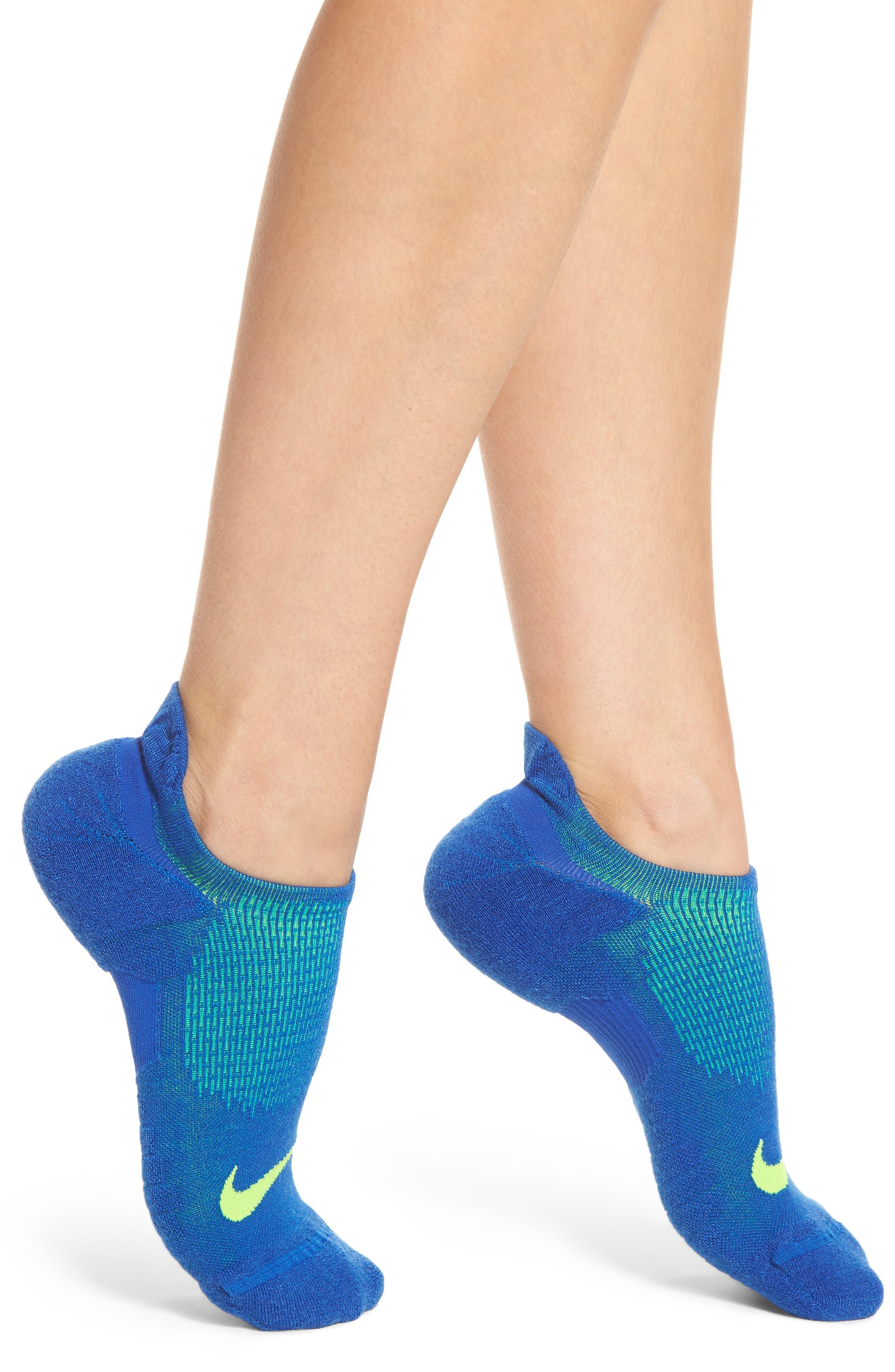 Elite Cushioned No-Show Tab Running Socks,                             Main thumbnail 4, color,