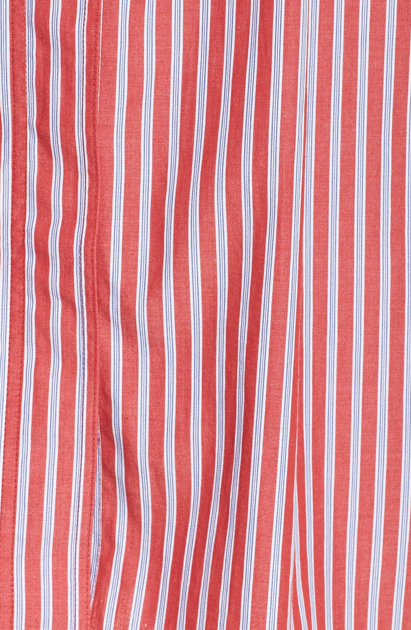 Stripe Tie Waist Shirtdress,                             Alternate thumbnail 6, color,                             RED- WHITE STRIPE
