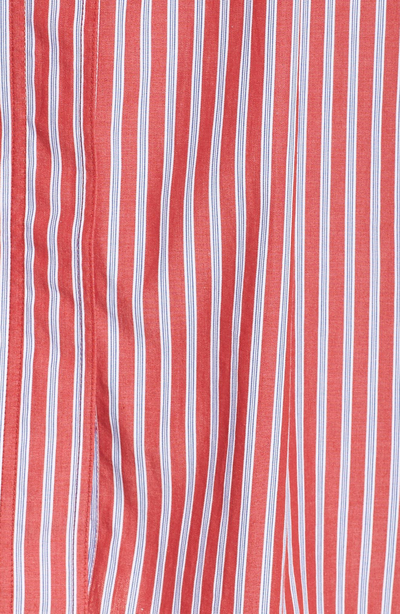Stripe Tie Waist Shirtdress,                             Alternate thumbnail 6, color,                             600
