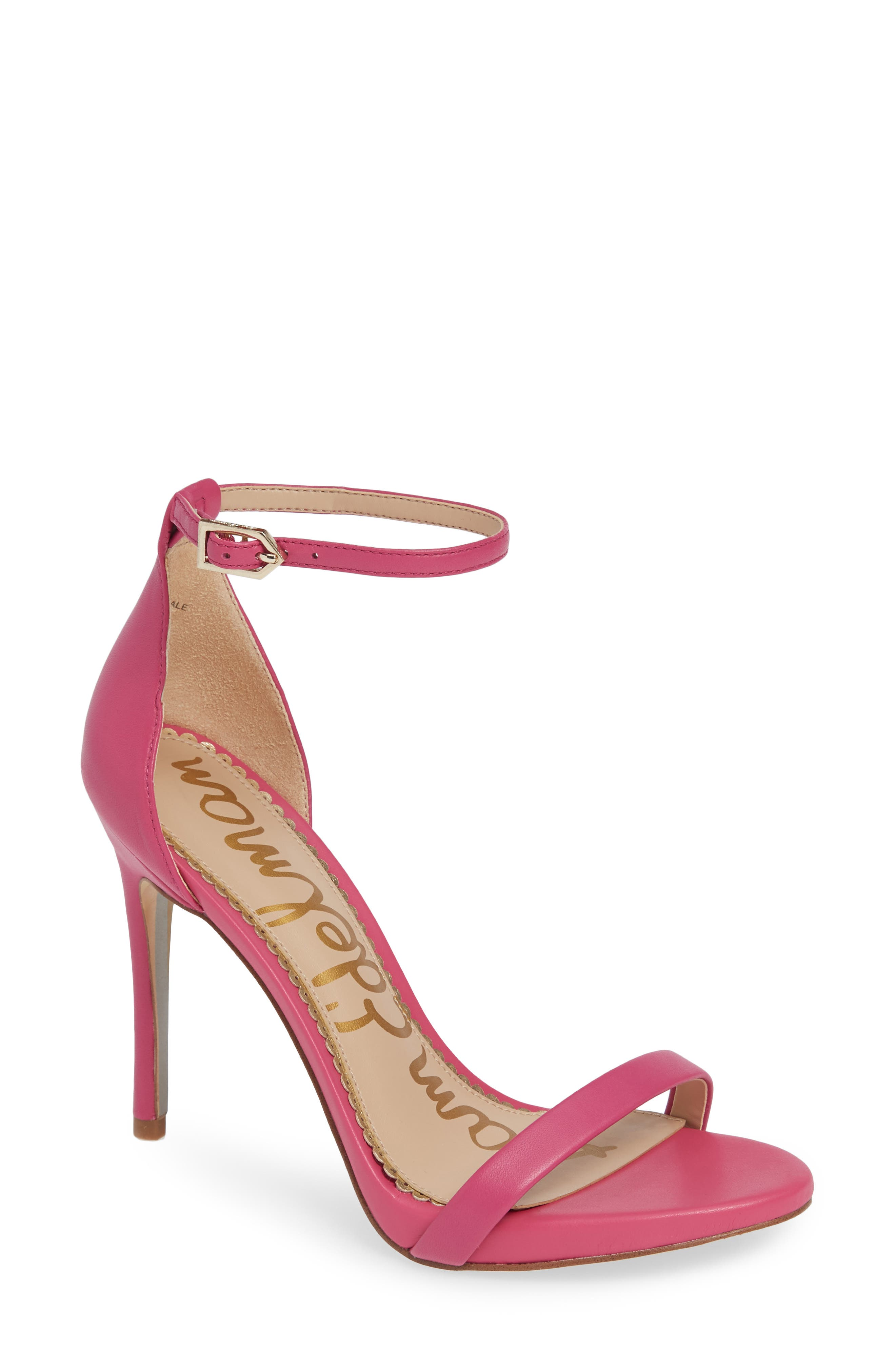 Ariella Ankle Strap Sandal,                             Main thumbnail 1, color,                             RETRO PINK LEATHER