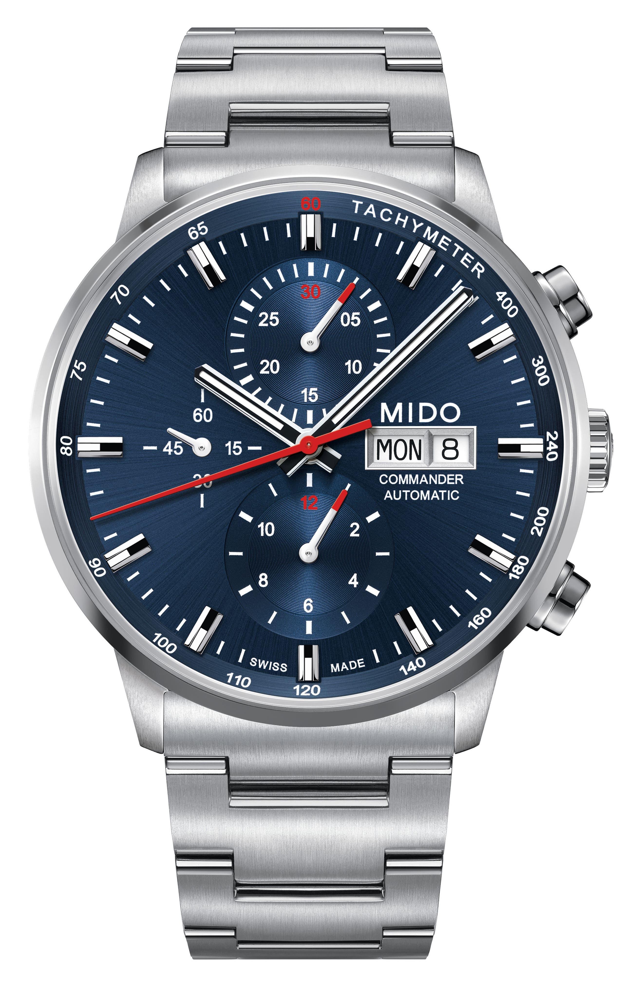 Commander Chronometer Bracelet Watch, 42mm,                             Main thumbnail 1, color,                             SILVER/ BLUE/ SILVER