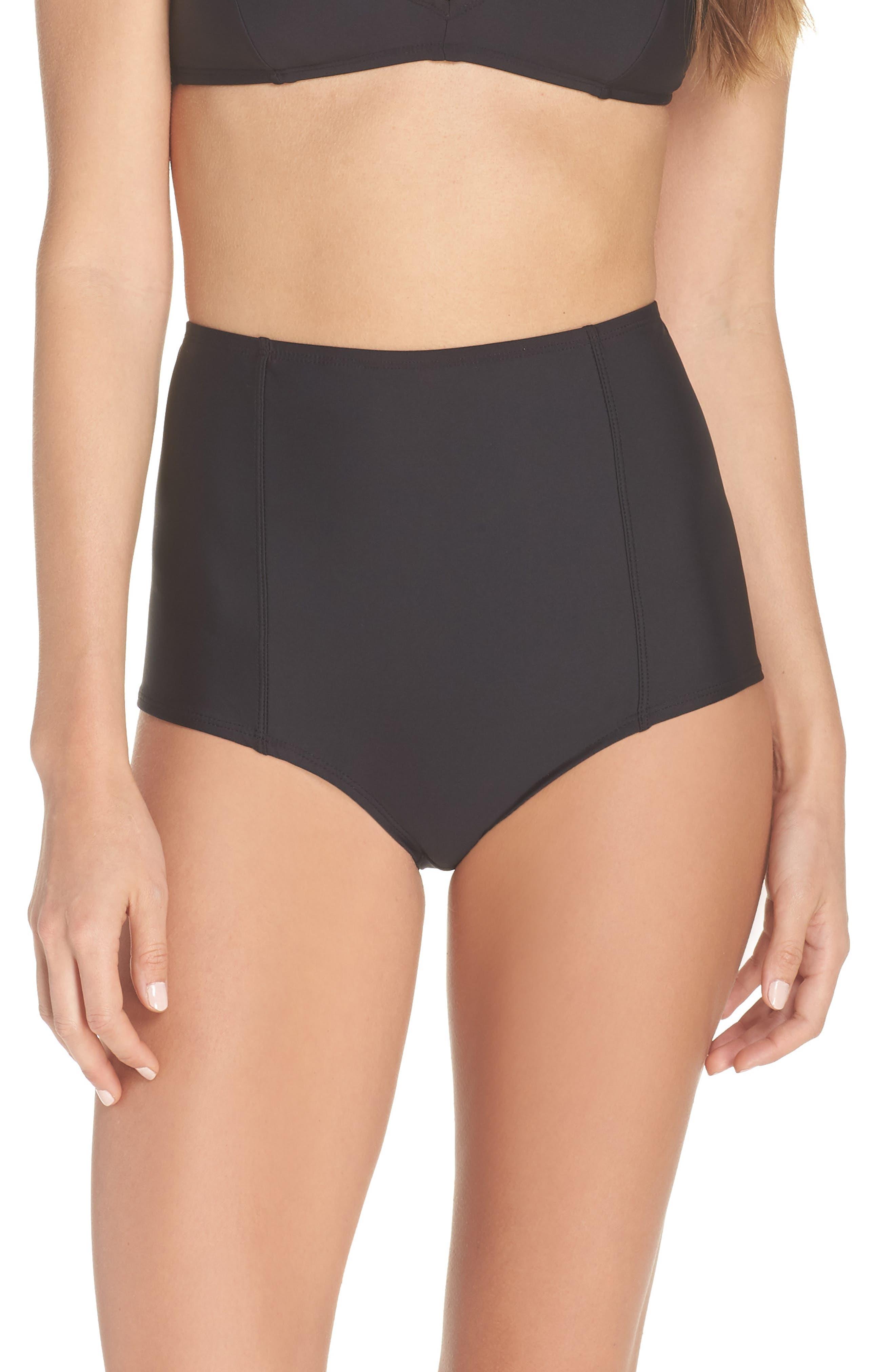High Waist Bikini Bottoms,                         Main,                         color, BLACK