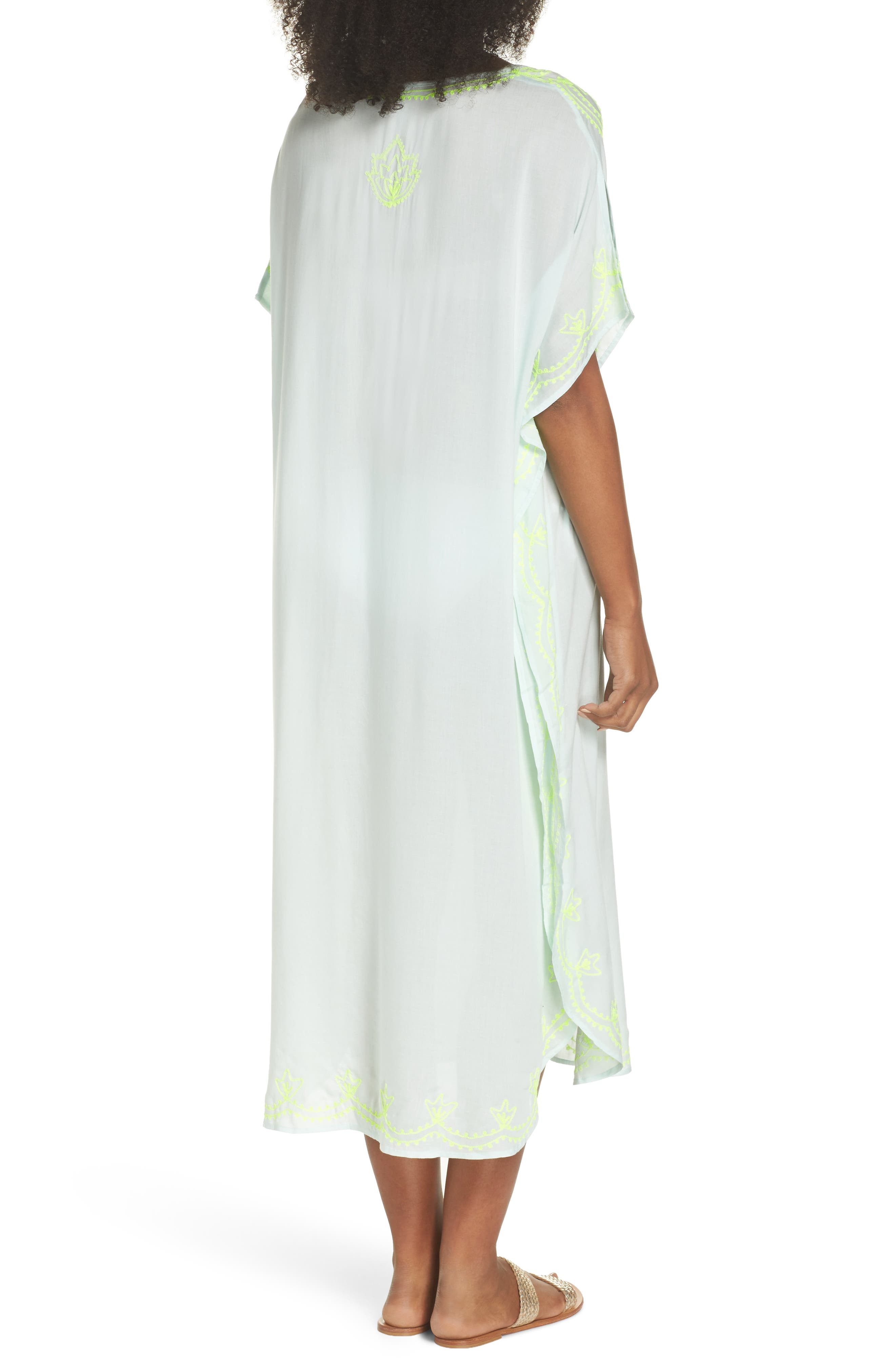 Embroidered Cover-Up Caftan,                             Alternate thumbnail 2, color,                             SEAFOAM