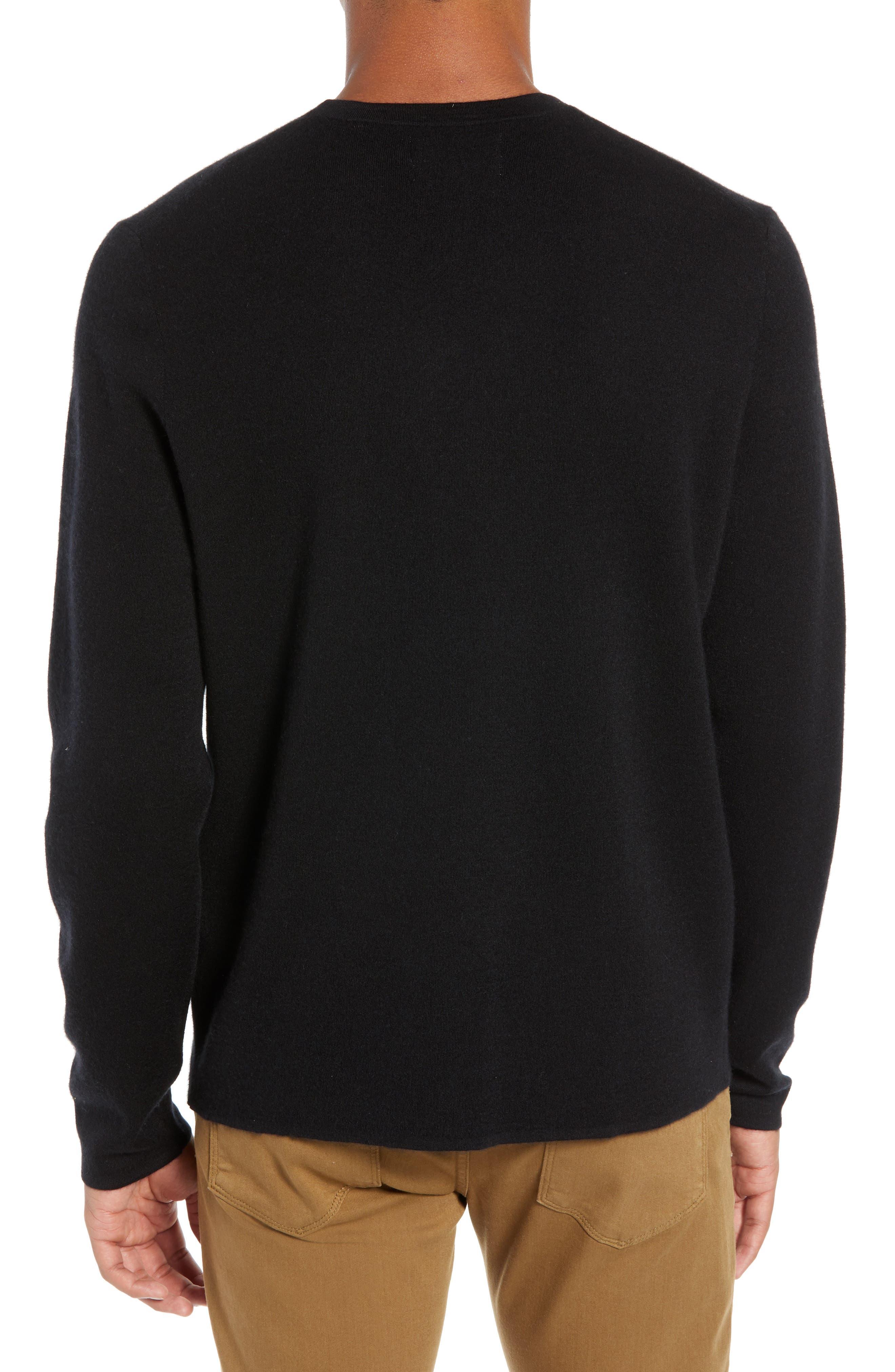 Crewneck Cashmere Sweater,                             Alternate thumbnail 2, color,                             BLACK CAVIAR