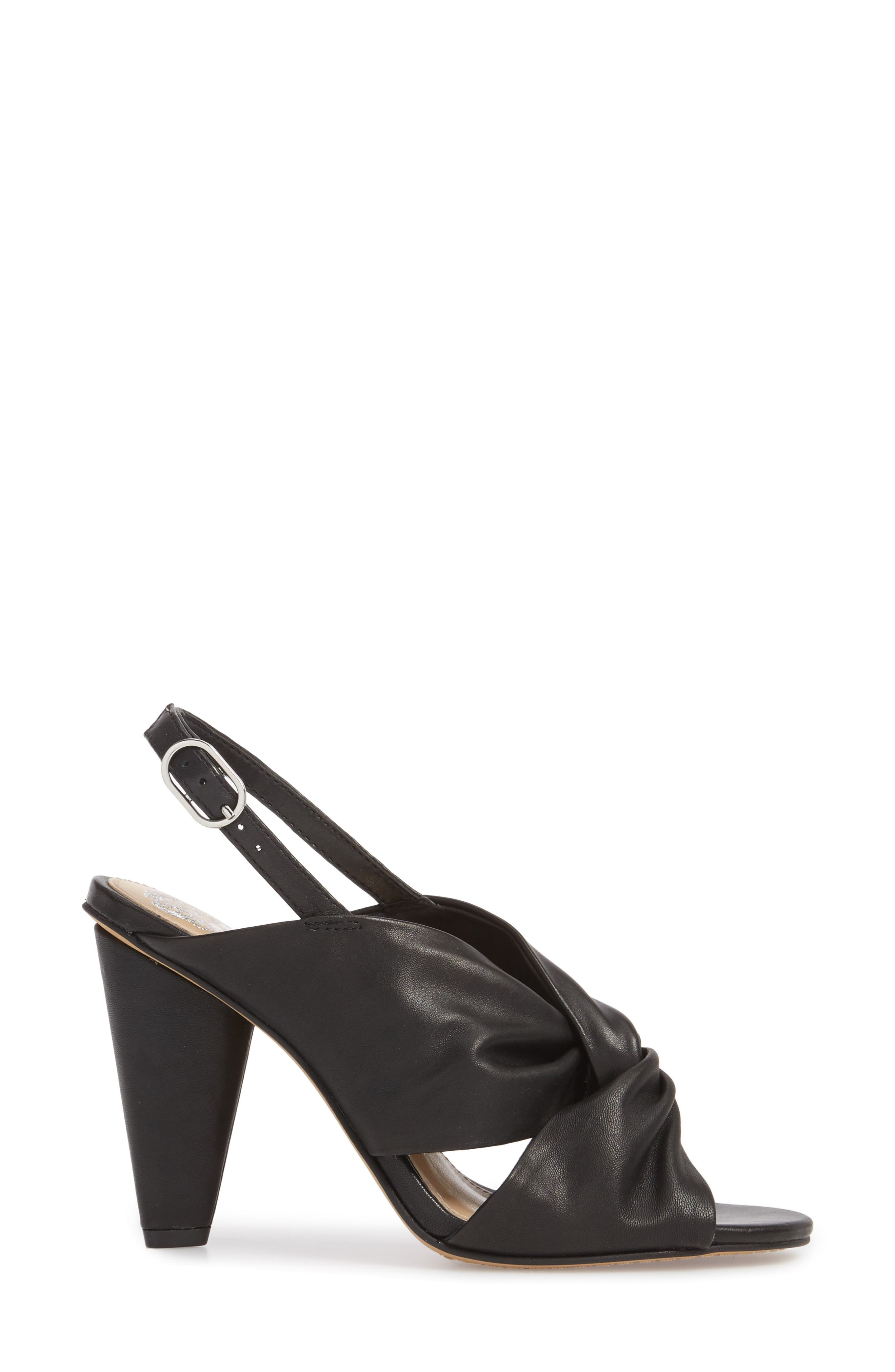 Kattie Slingback Sandal,                             Alternate thumbnail 3, color,                             BLACK LEATHER