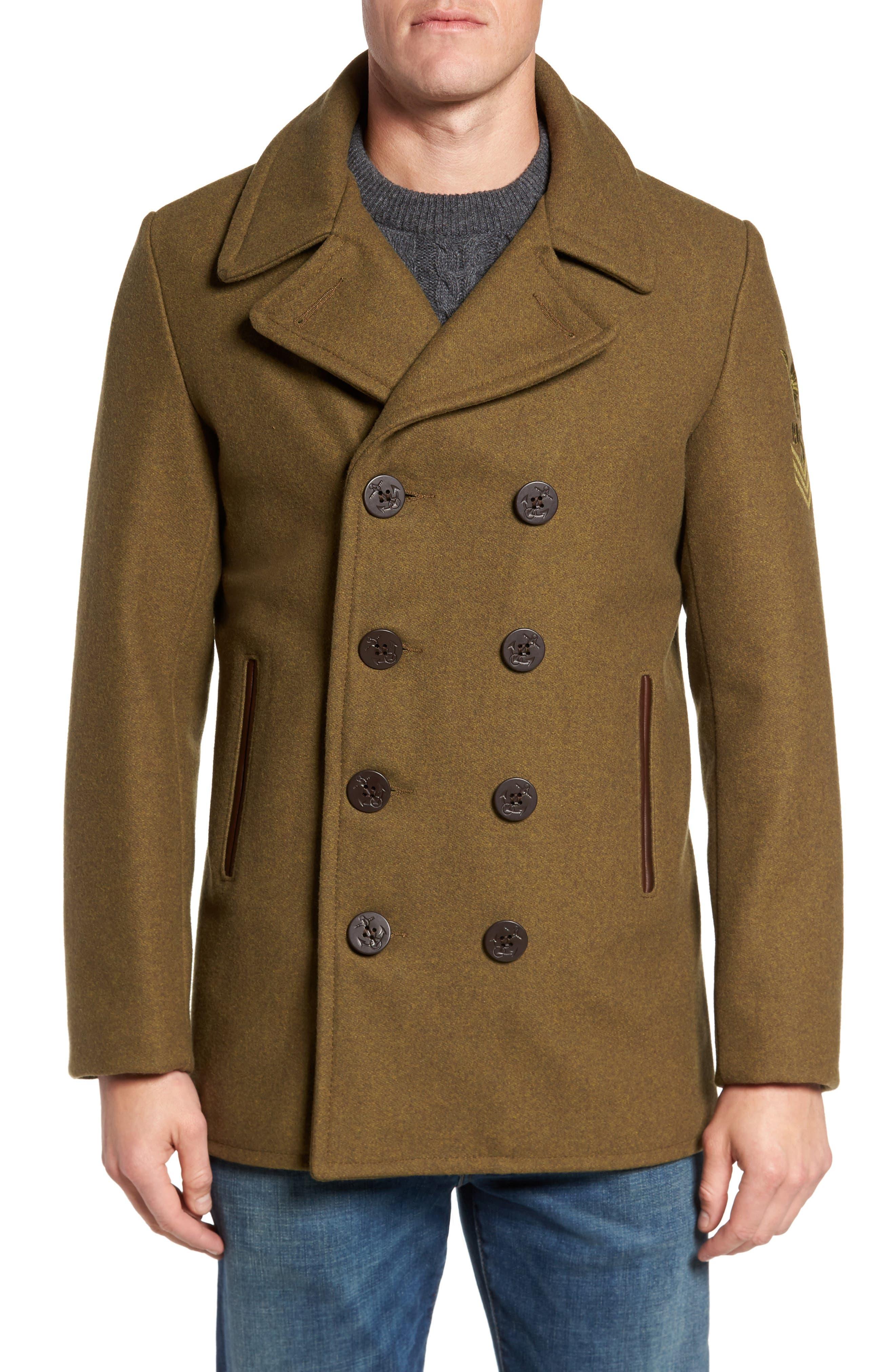 Embellished Slim Wool Blend Peacoat,                         Main,                         color, 252