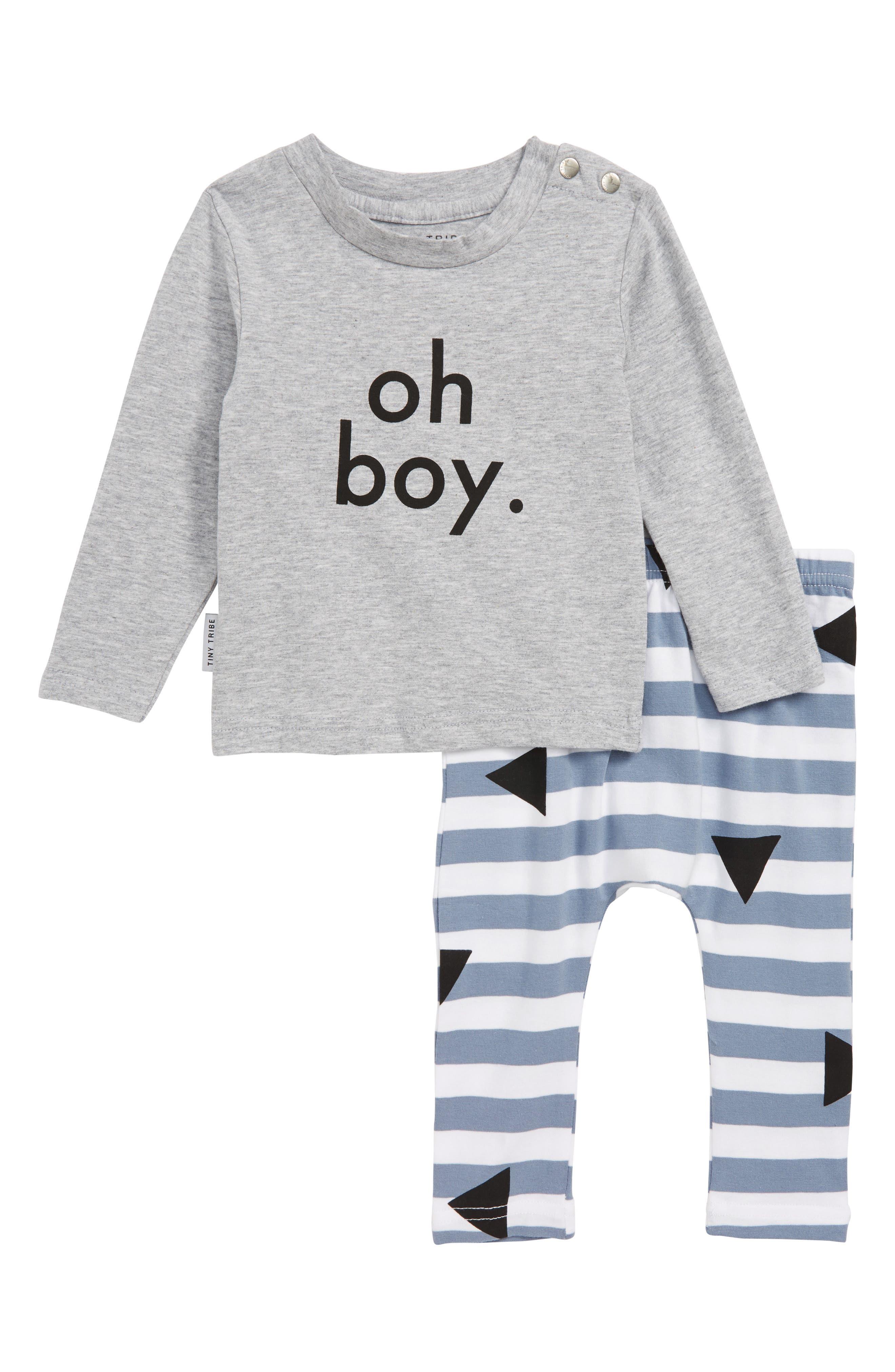 Oh Boy T-Shirt & Leggings Set,                             Main thumbnail 1, color,                             GREY MARL/ BLUE