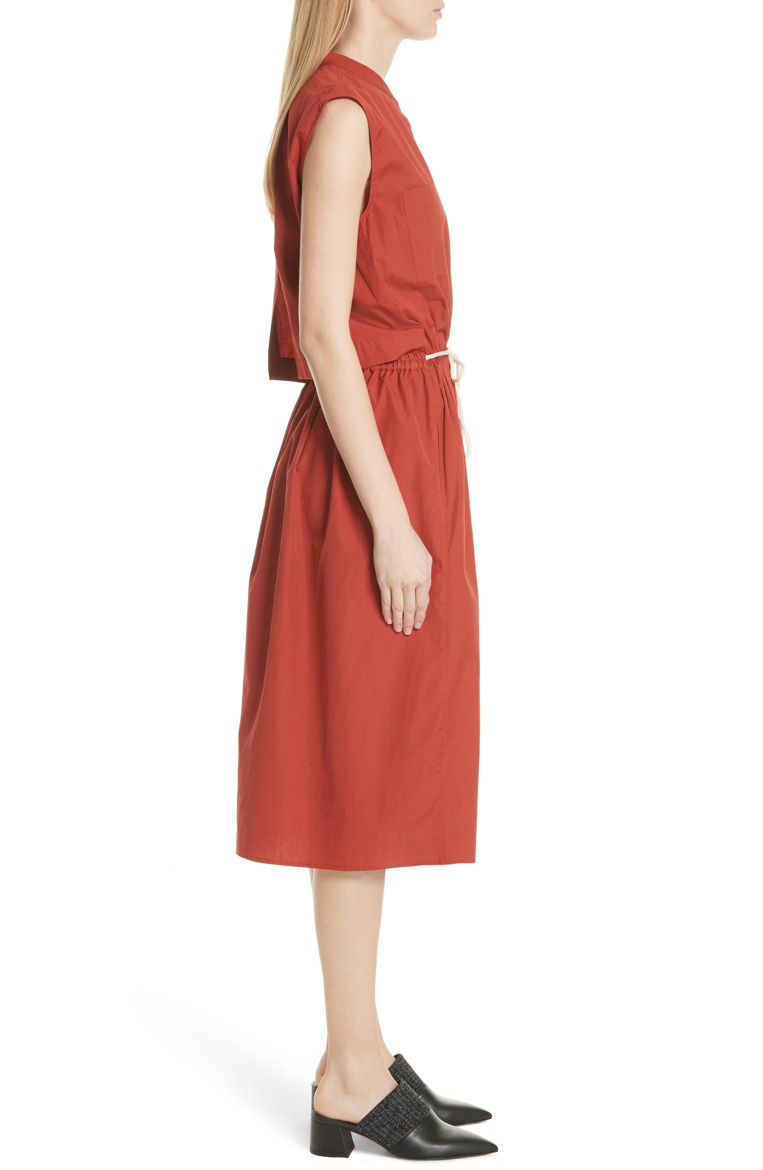 Back Cutout Cotton Utility Dress,                             Alternate thumbnail 6, color,