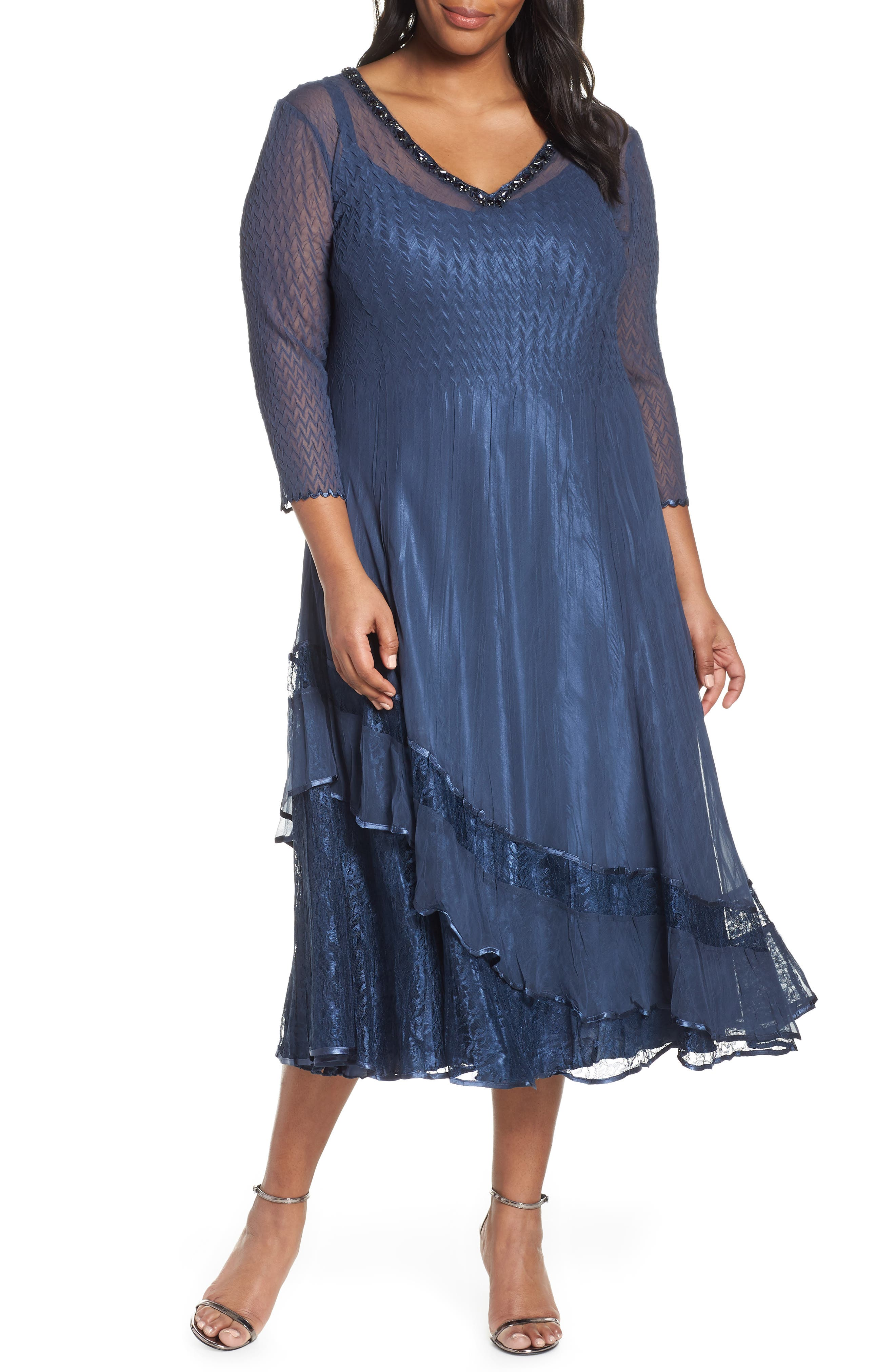 1920s Plus Size Flapper Dresses, Gatsby Dresses, Flapper Costumes Plus Size Womens Komarov Tiered Midi Dress $388.00 AT vintagedancer.com