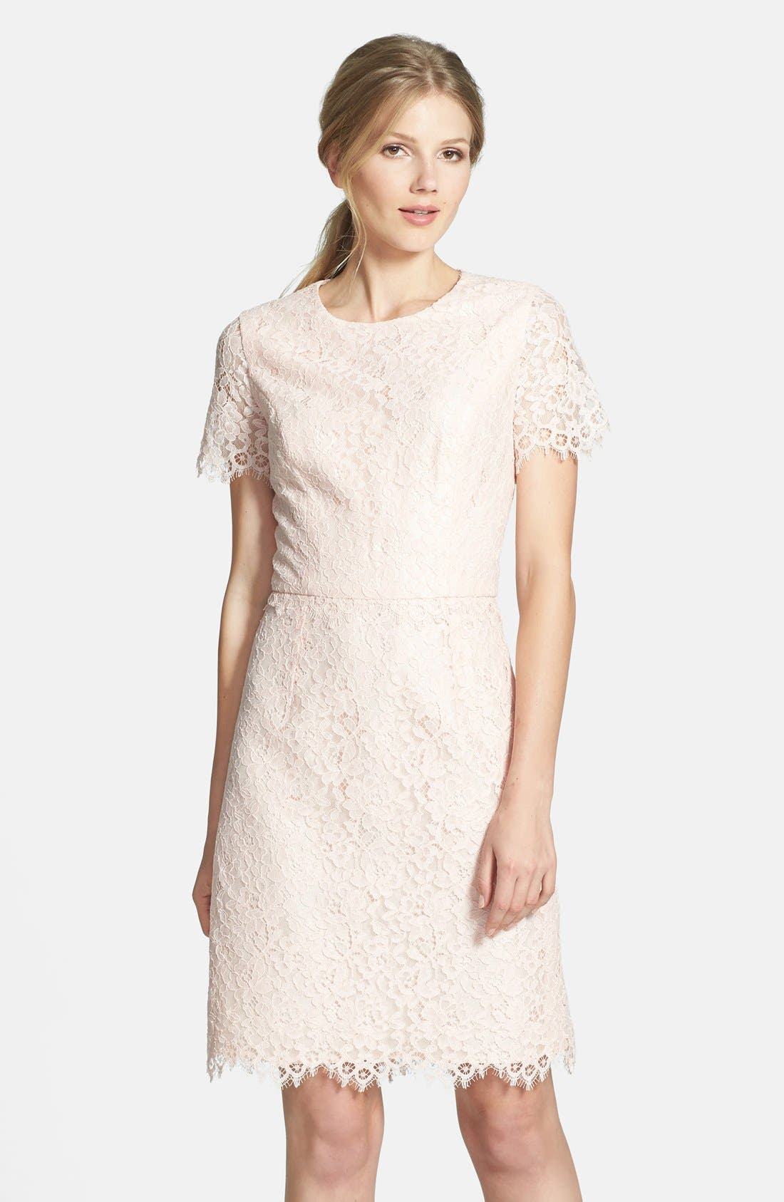 'Valeria' Lace Sheath Dress,                             Main thumbnail 1, color,                             650