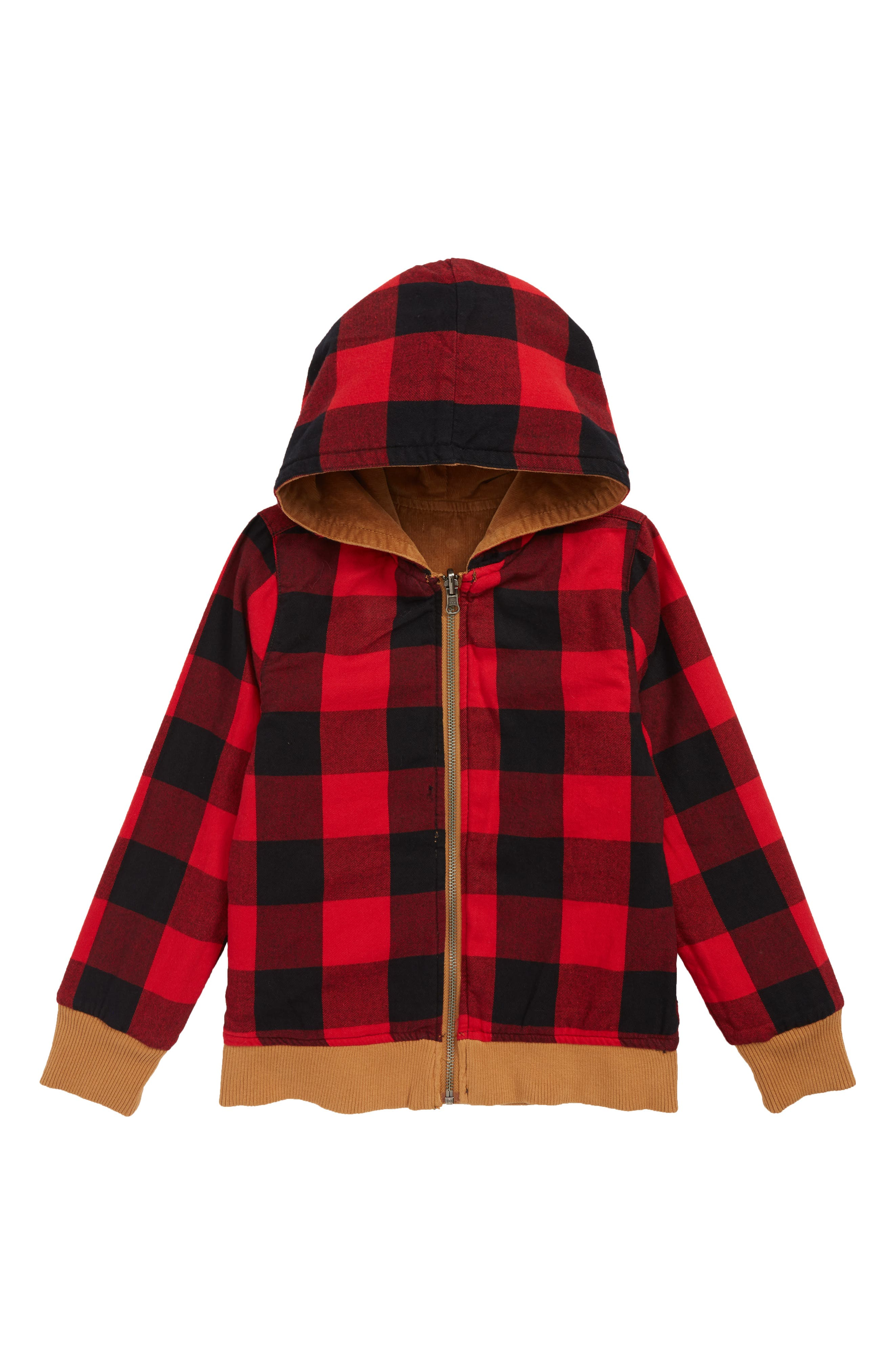 Reversible Corduroy/Plaid Hooded Jacket,                             Alternate thumbnail 2, color,                             TAN DALE