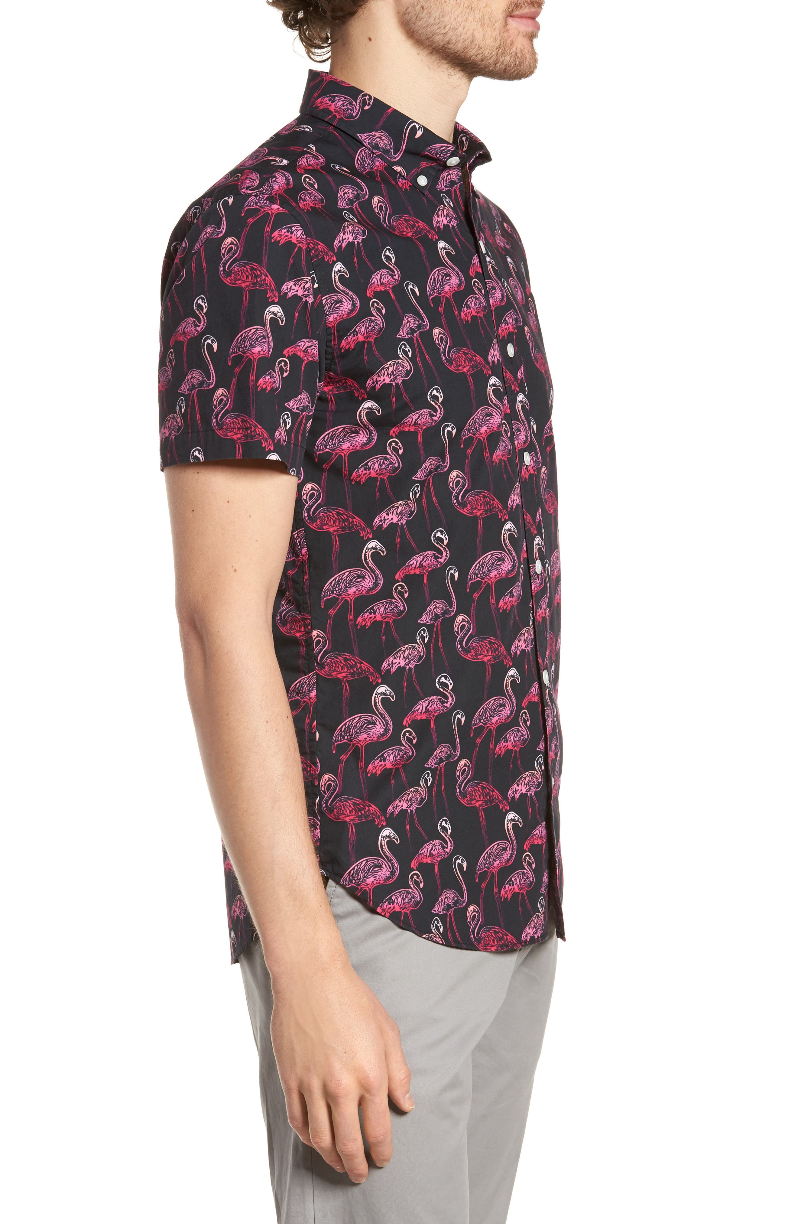 Slim Fit Flamingo Print Sport Shirt,                             Alternate thumbnail 3, color,