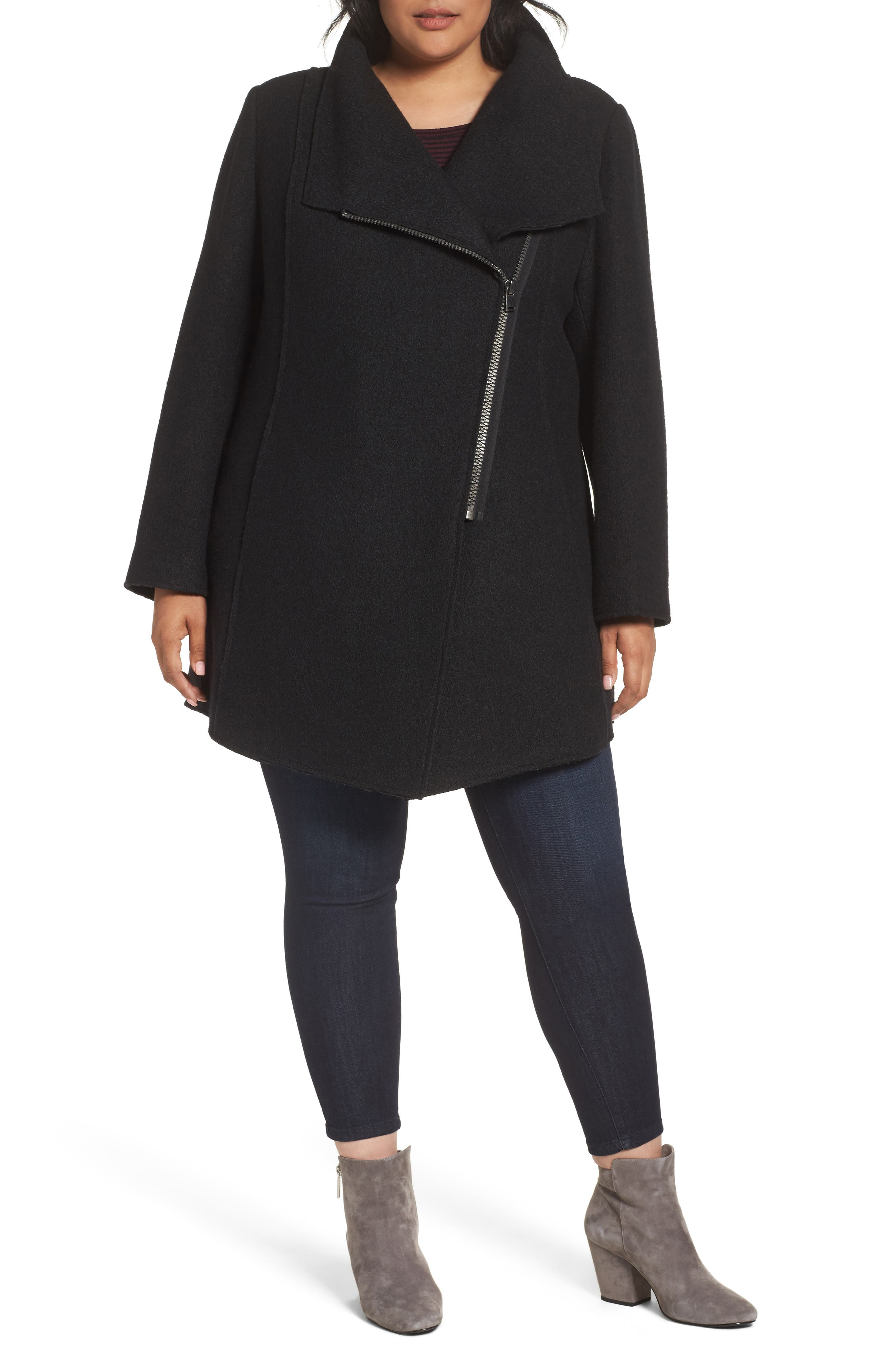 Asymmetrical Zip Boiled Wool Blend Coat,                             Main thumbnail 1, color,