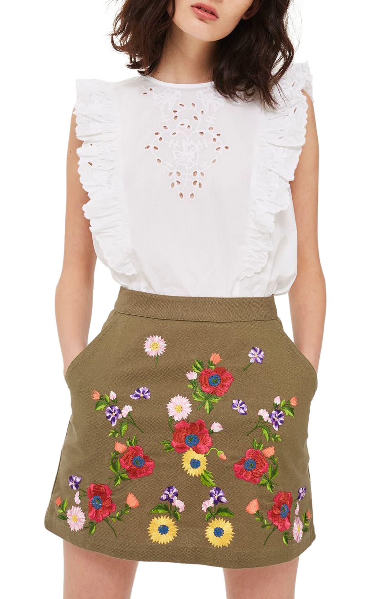 Garden Embroidered Miniskirt,                             Main thumbnail 2, color,