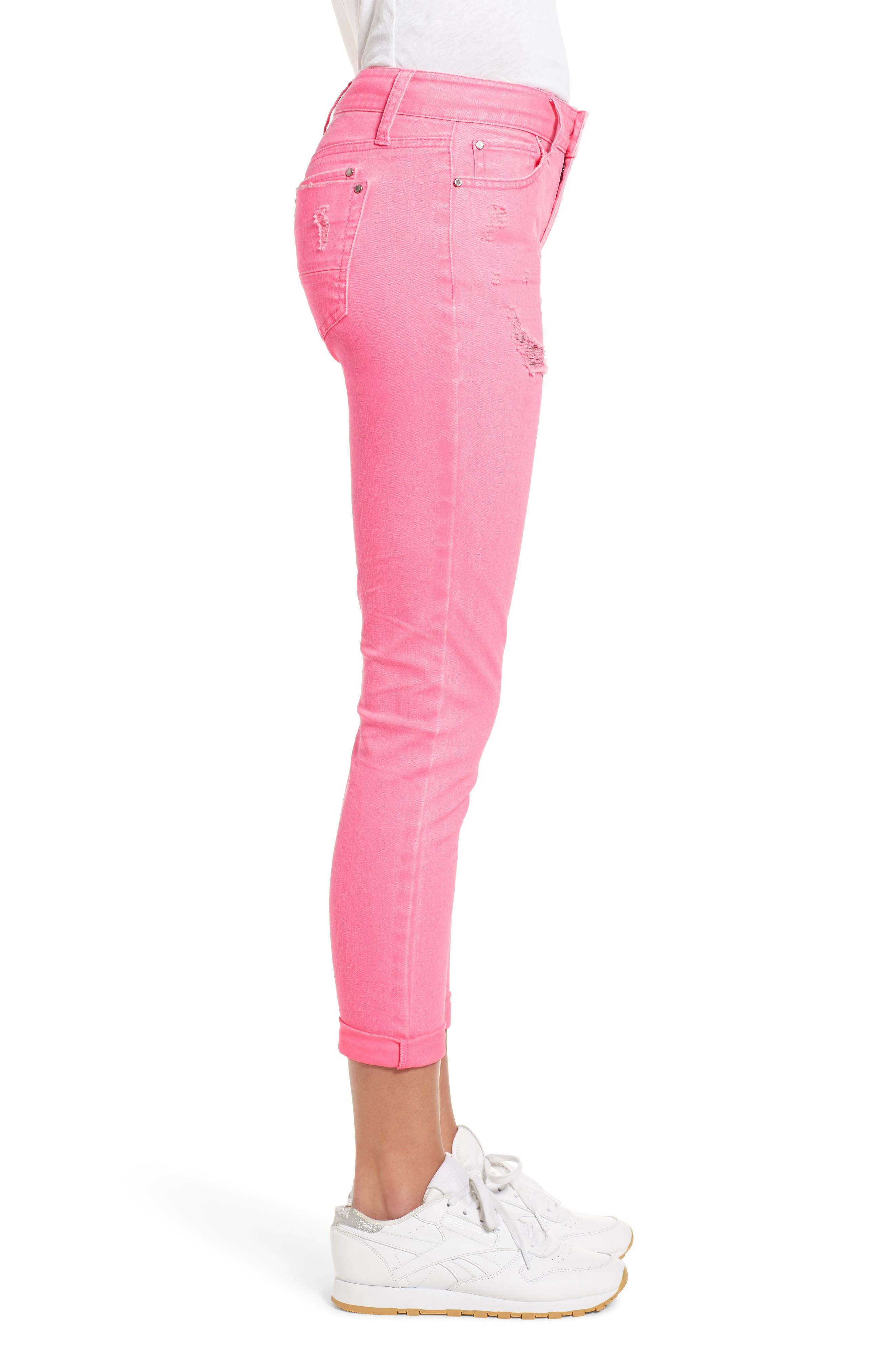 Distressed Roll Cuff Skinny Jeans,                             Alternate thumbnail 12, color,