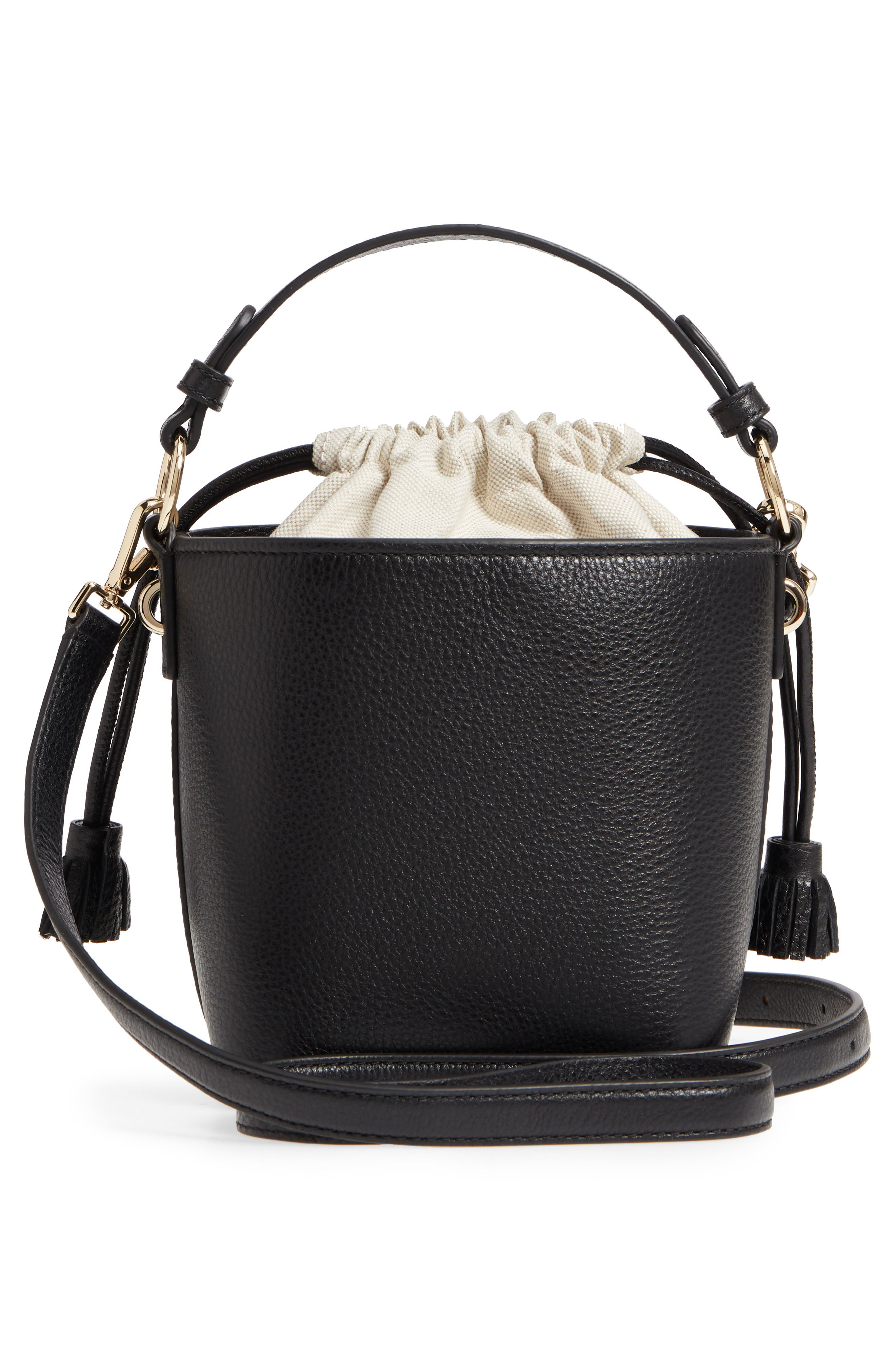 hayes street - pippa leather bucket bag,                             Alternate thumbnail 3, color,                             001