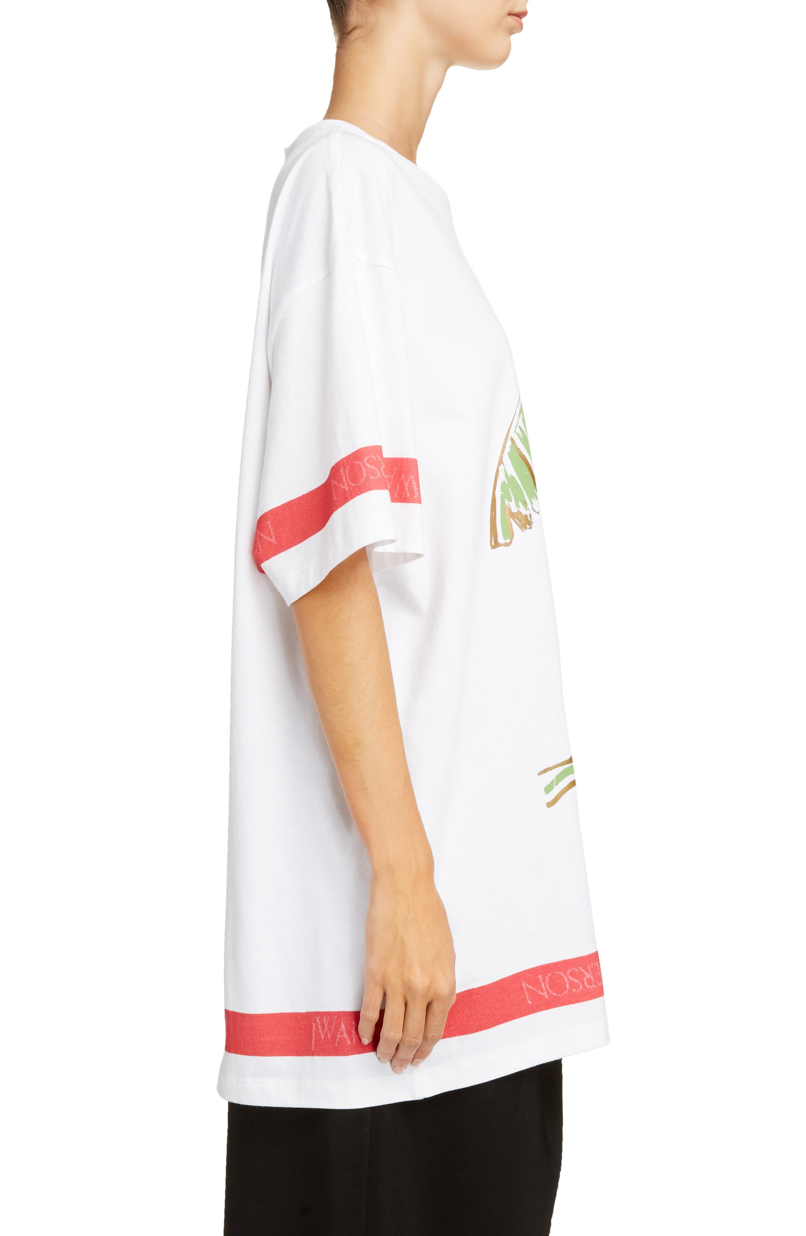 Palm Lady Oversized Tee,                             Alternate thumbnail 3, color,                             100