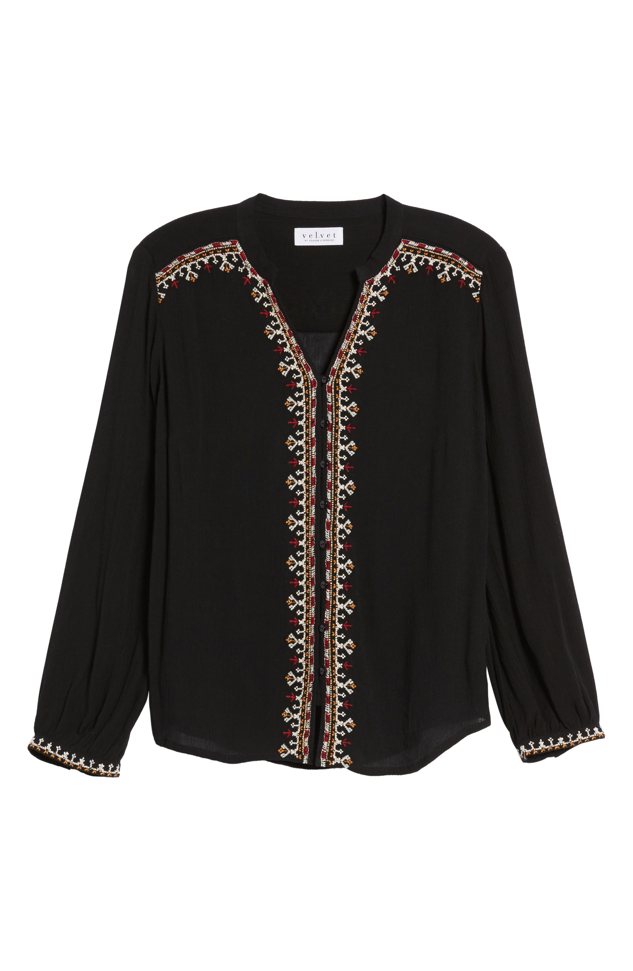 Embroidered Top,                             Alternate thumbnail 6, color,                             001